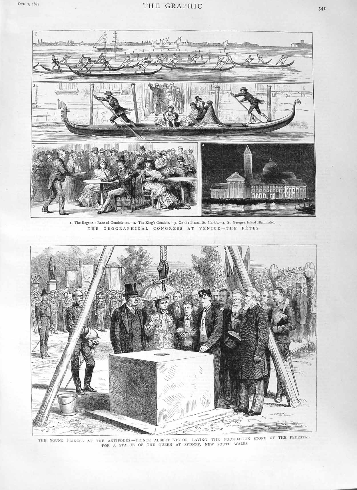 Print 1881 Geographical Congress Venice Prince Victor Sydney 341M124 Old Original