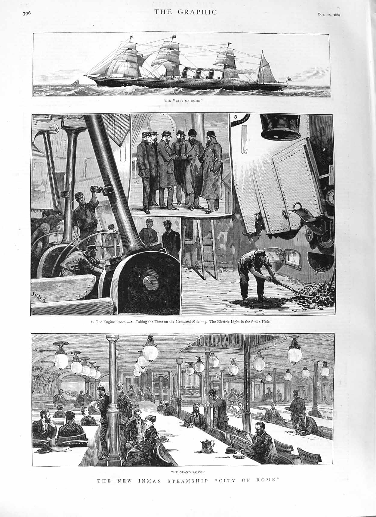 [Print 1881 Inman Steamship City Rome Engine Room Stock-Hole  Old Original]