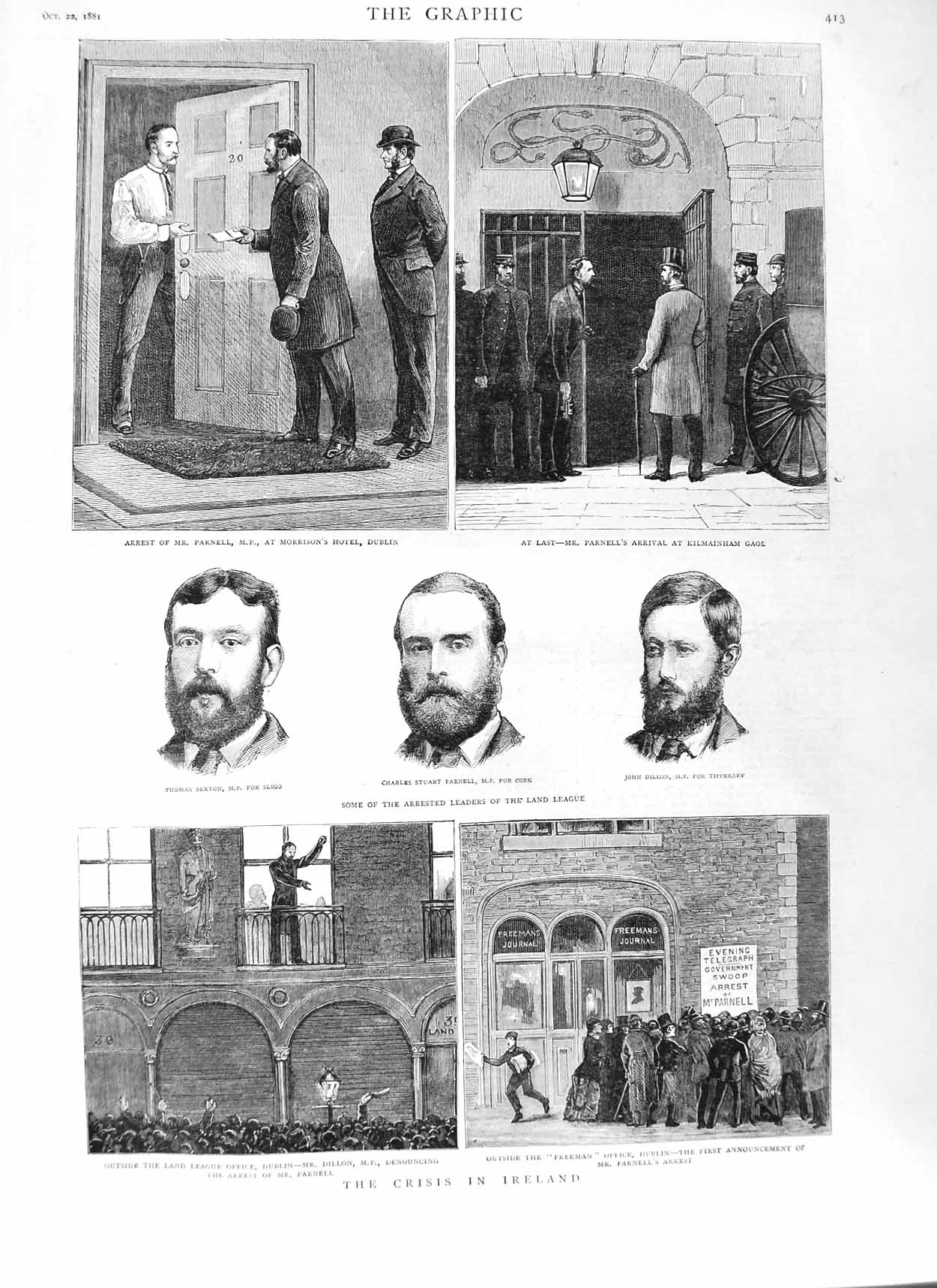 [Print 1881 Ireland Parnell Land League Kilmainham Gaol Sexton 413M124 Old Original]