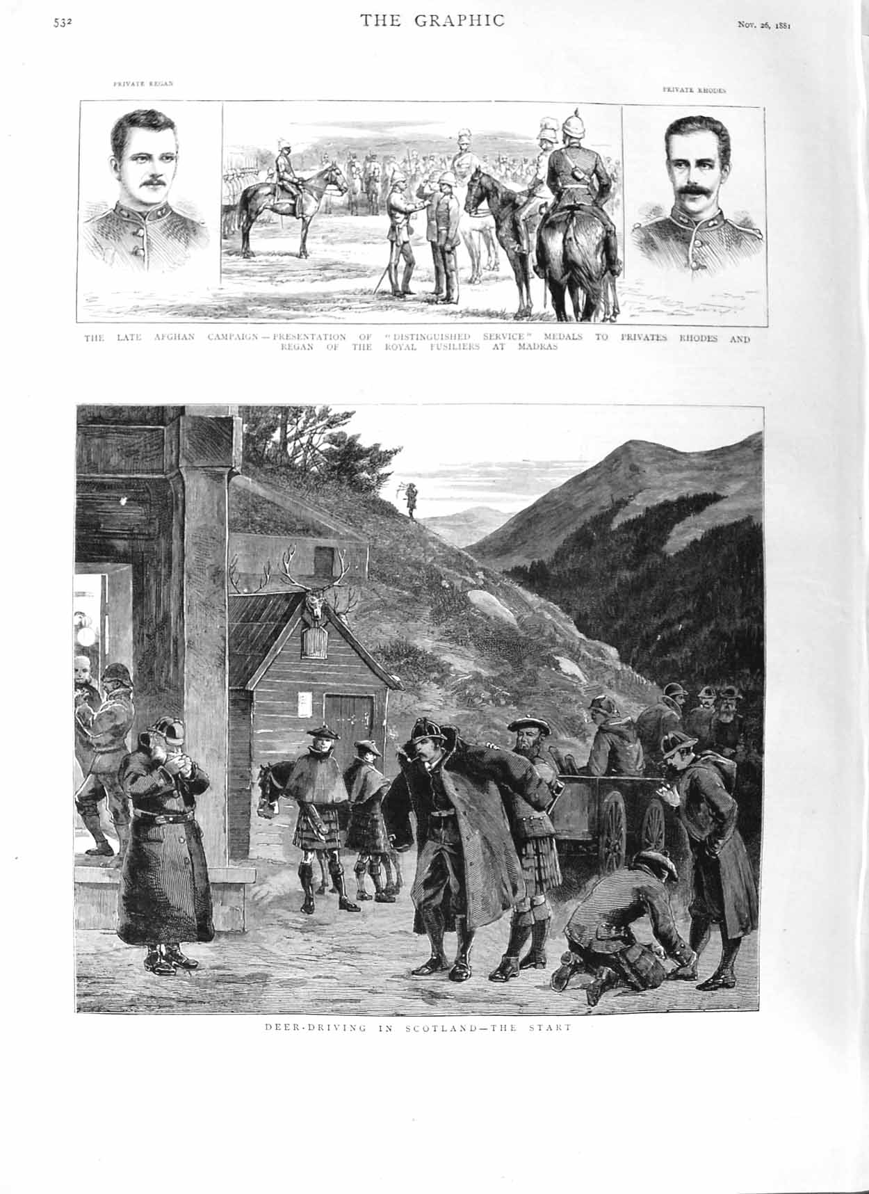 [Print 1881 Deer Hunting Scotland Afghan War Rhodes Regan Army 532M124 Old Original]
