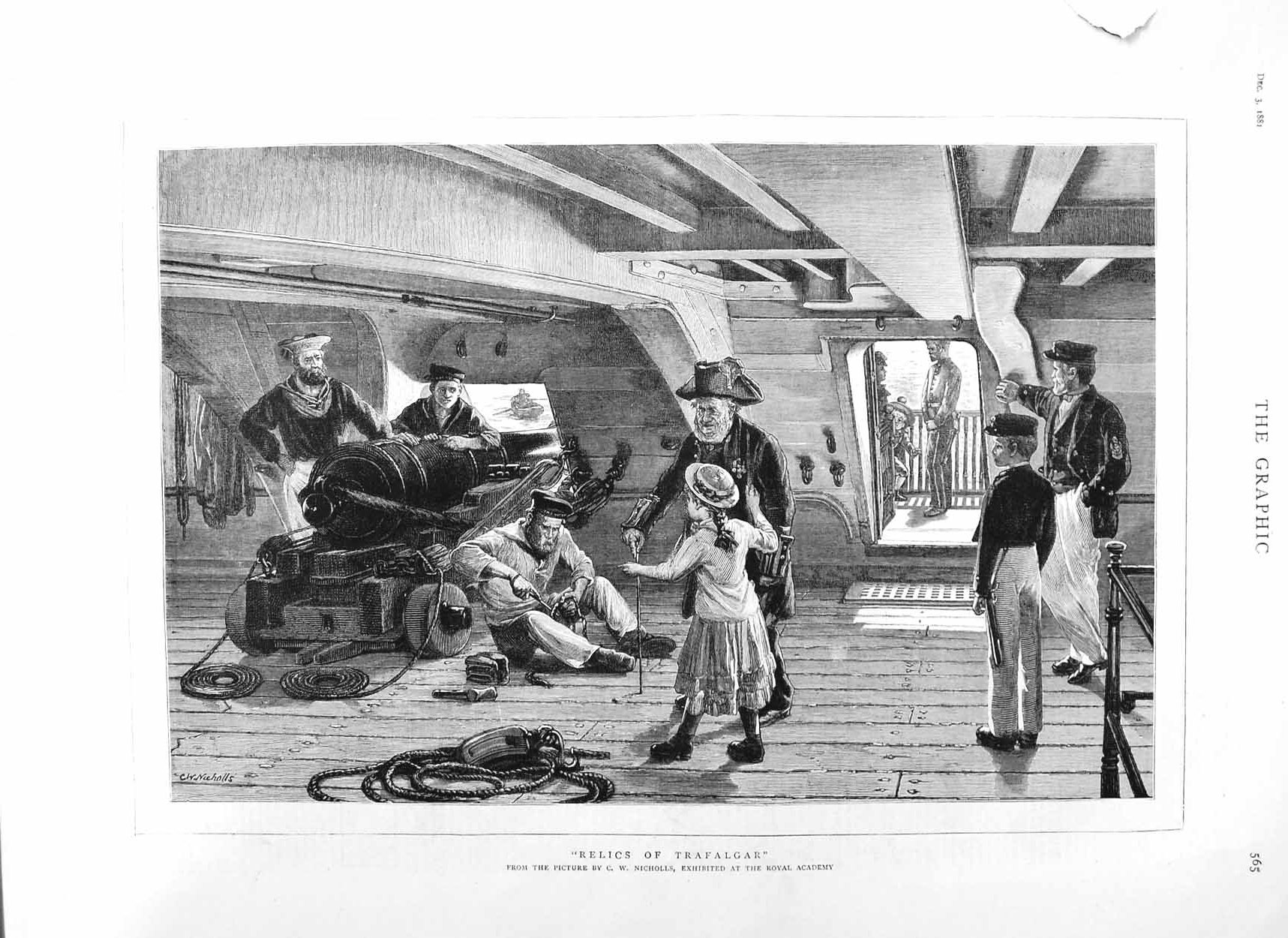 [Print 1881 Ship Weapons Relics Trafalgar Sailors Children 565M124 Old Original]