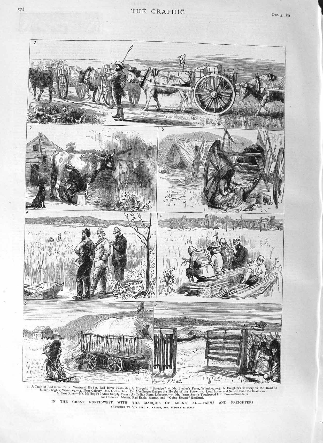 [Print 1881 Marquis Lorne Farm Red River Winnipeg Brazier 572M124 Old Original]