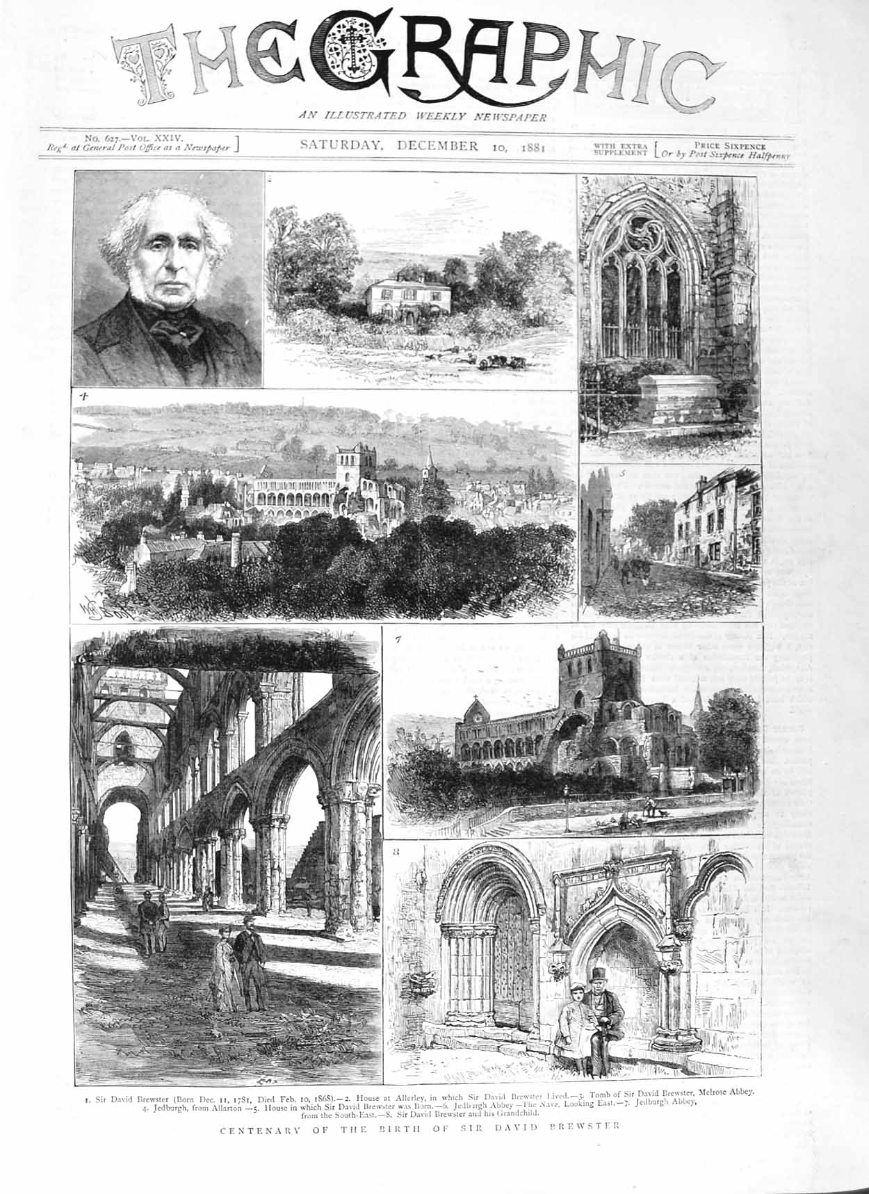 [Print 1881 Sir David Brewster House Allerley Melrose Abbey 577M124 Old Original]