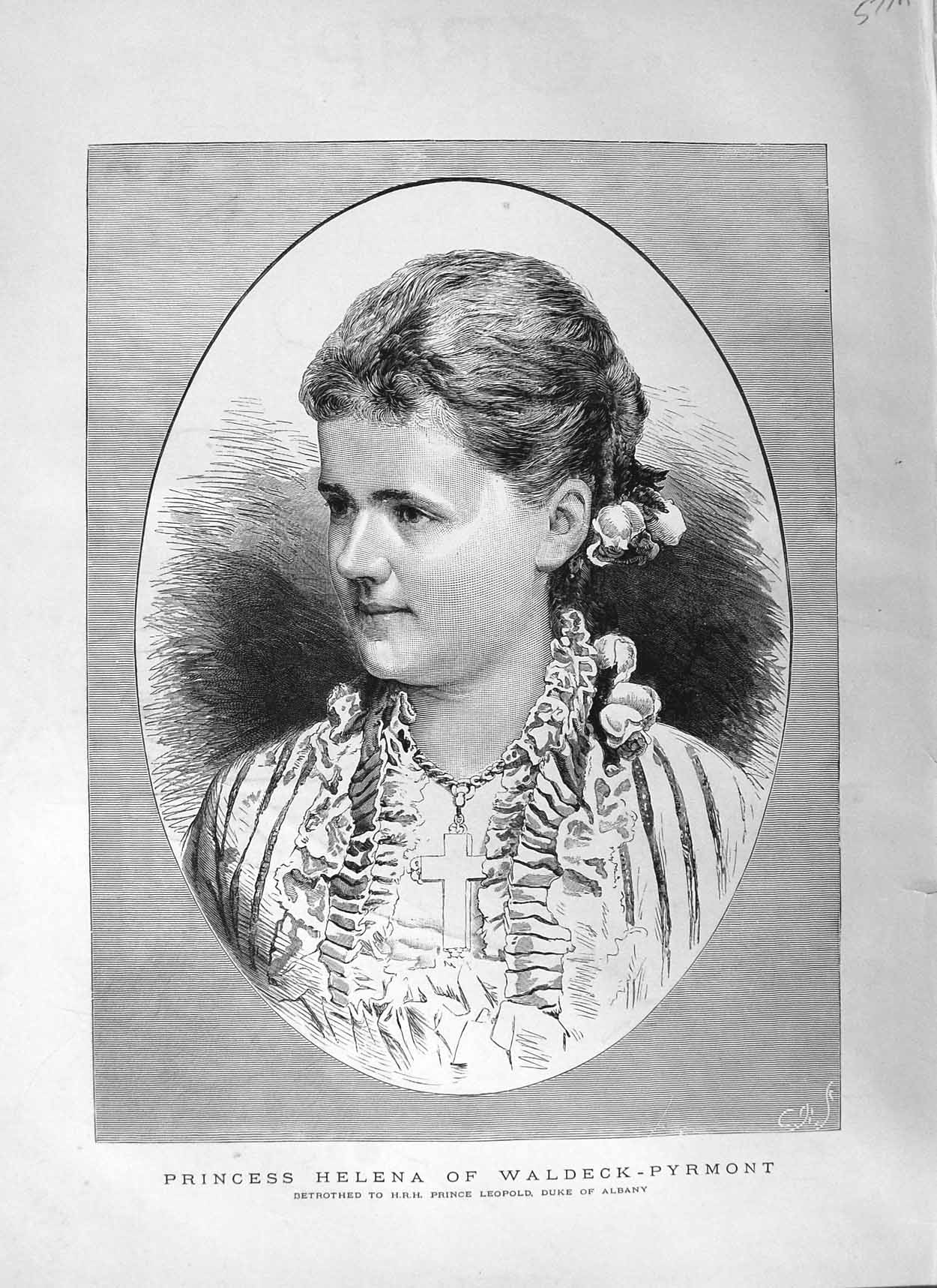 [Print 1881 Portrait Princess Helena Waldeck-Pyrmont 577Am124 Old Original]