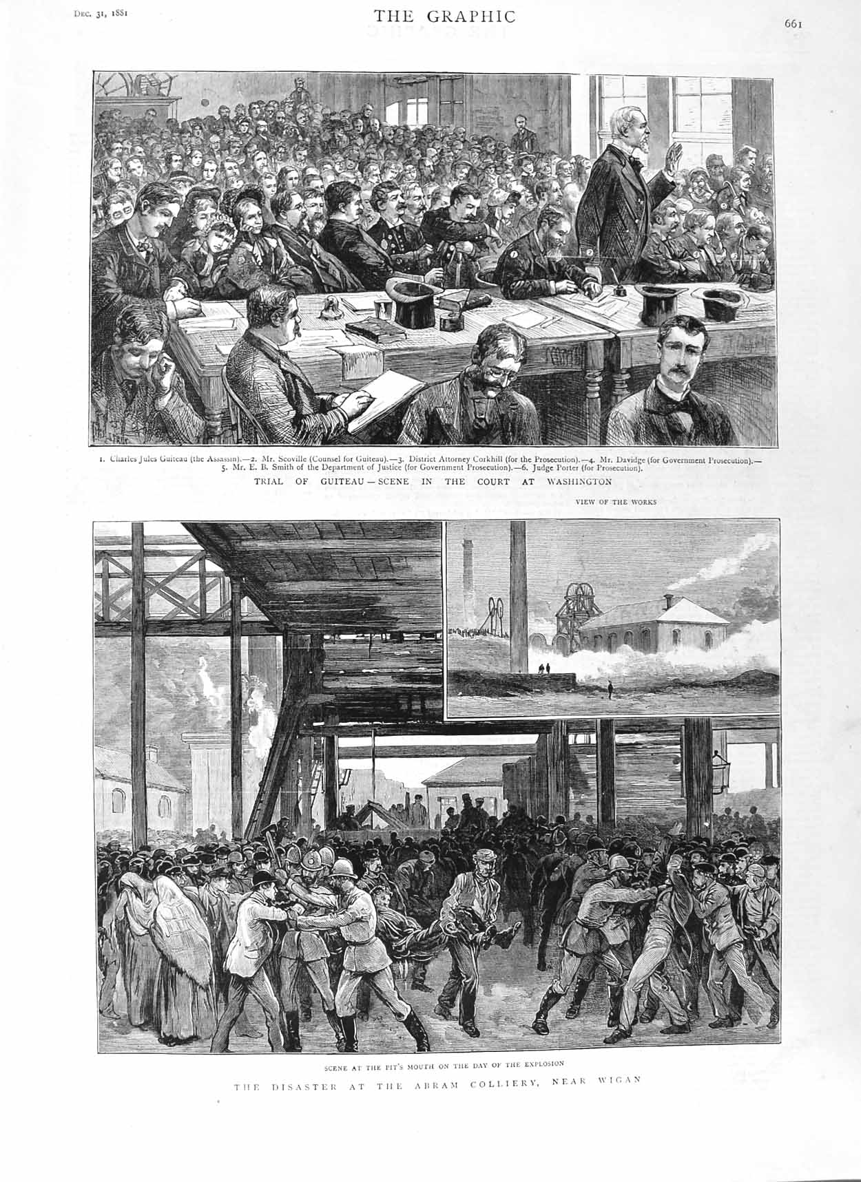 [Print 1881 Court Guiteau Washington Abram Colliery Wigan Mine 661M124 Old Original]