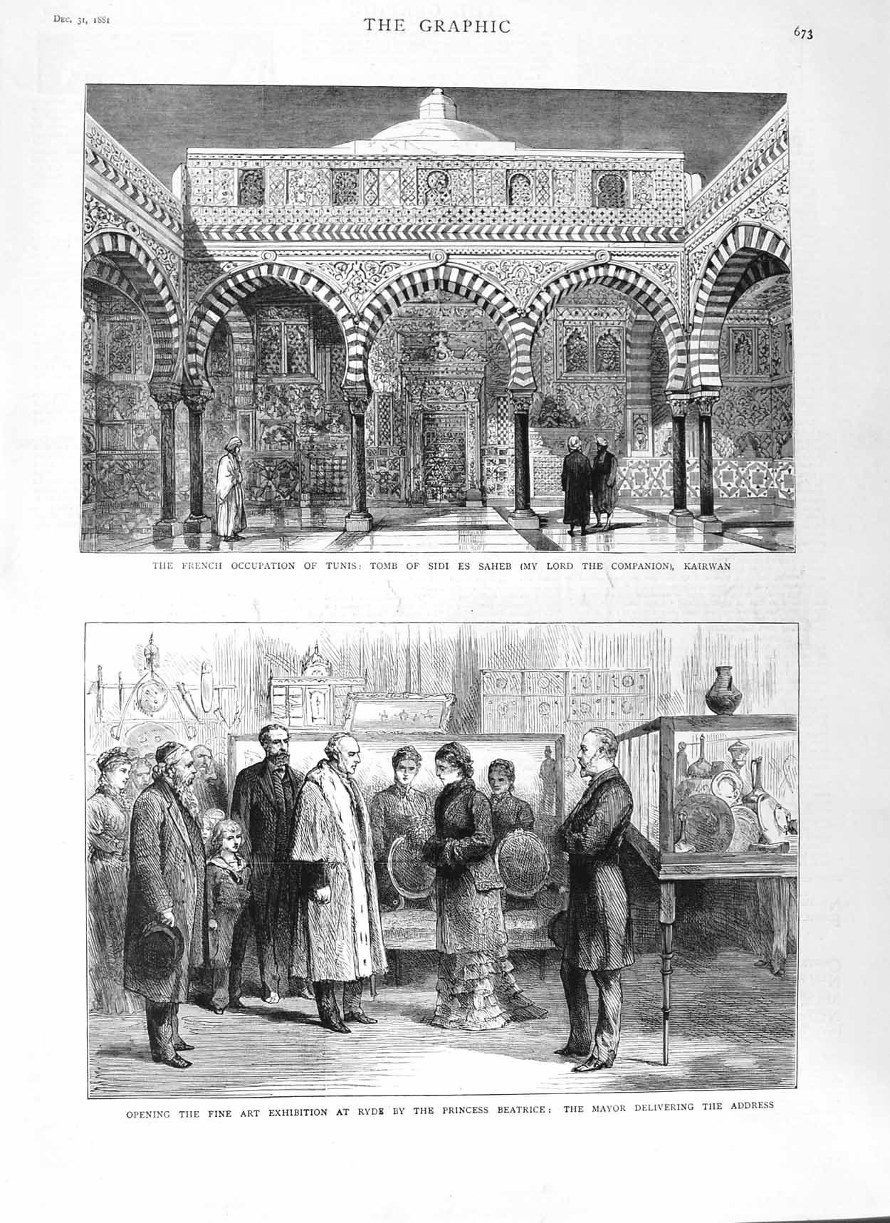 [Print 1881 Art Ryde Princess Beatrice Tomb Sidi Saheb Tunis 673M124 Old Original]