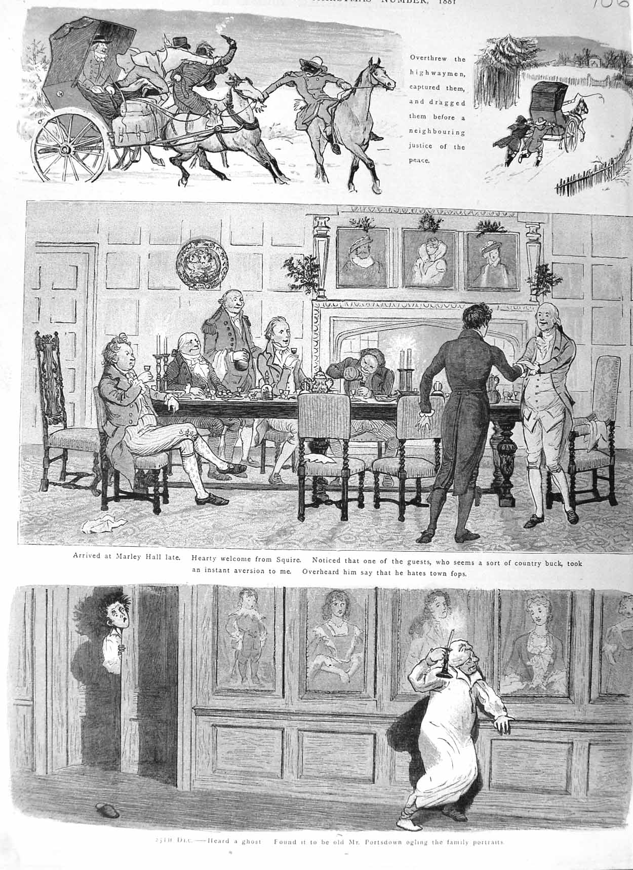[Print 1881 Christmas Marley Hall Horses Coach Snow Table 706M124 Old Original]