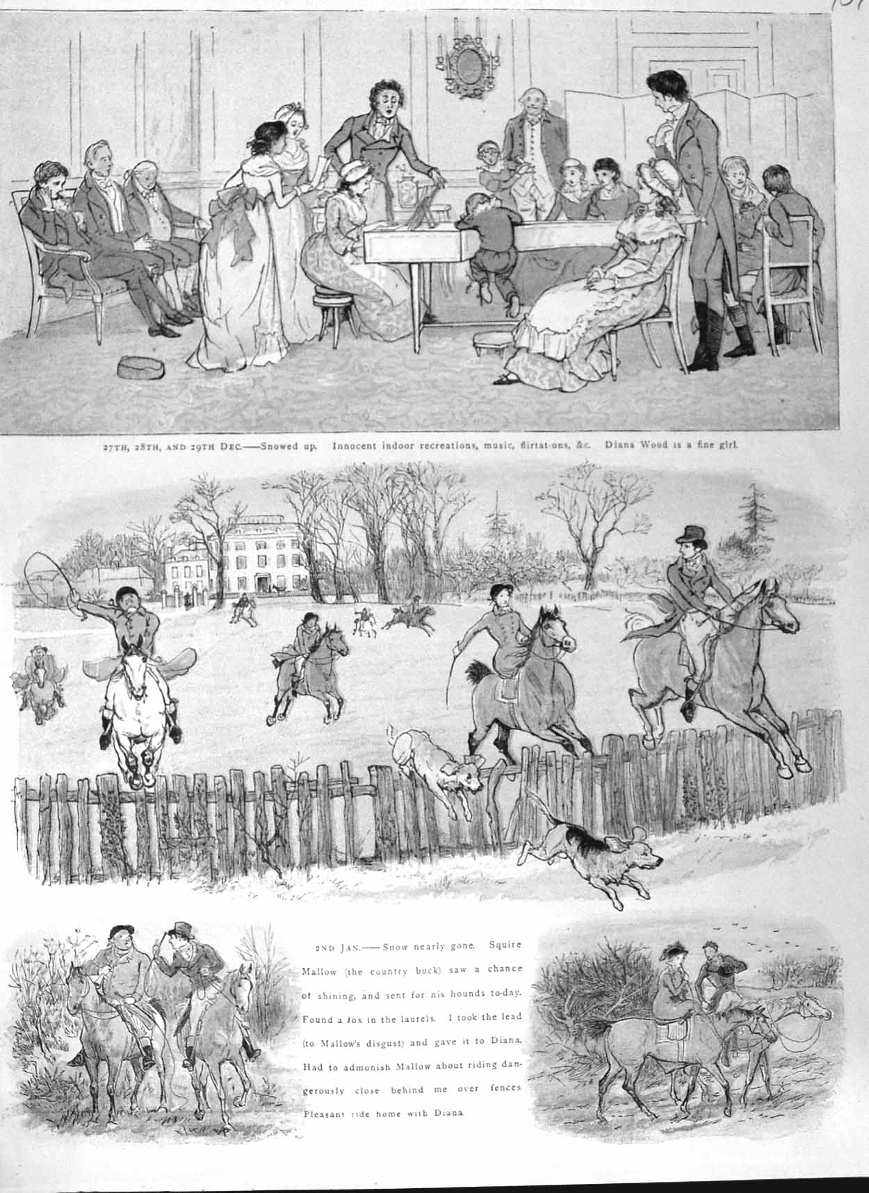 [Print 1881 Christmas Horses Hunting Dogs Country Colour 707M124 Old Original]