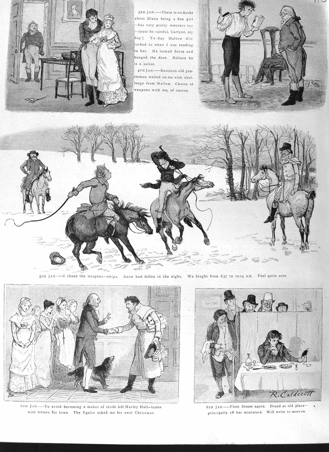 [Print 1881 Horses Hunting Sport Snow Marley Hall Colour 710M124 Old Original]