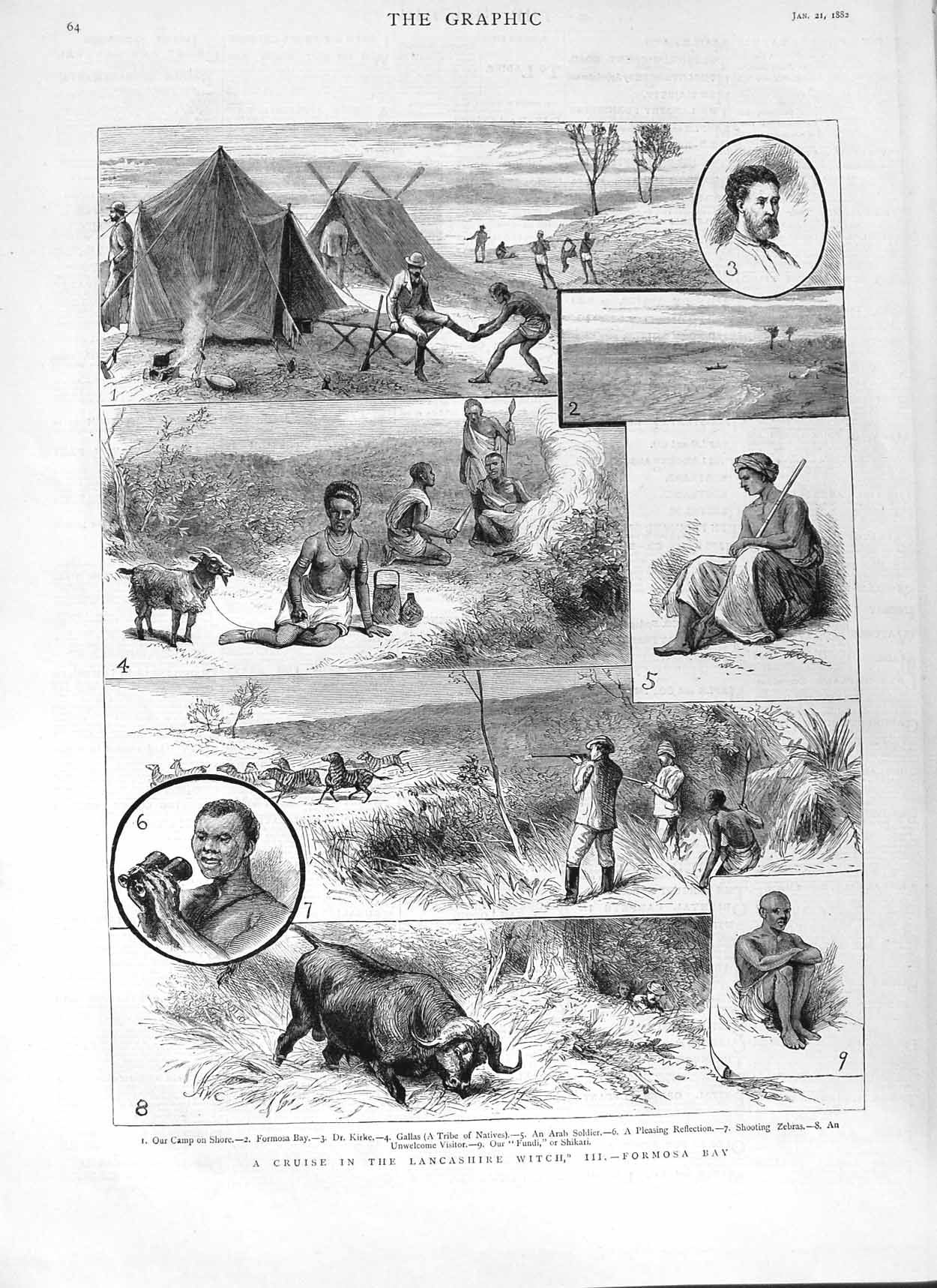 [Print 1882 Formosa Bay Camp Kirke Arab Soldier Zebras Hunting 064M125 Old Original]