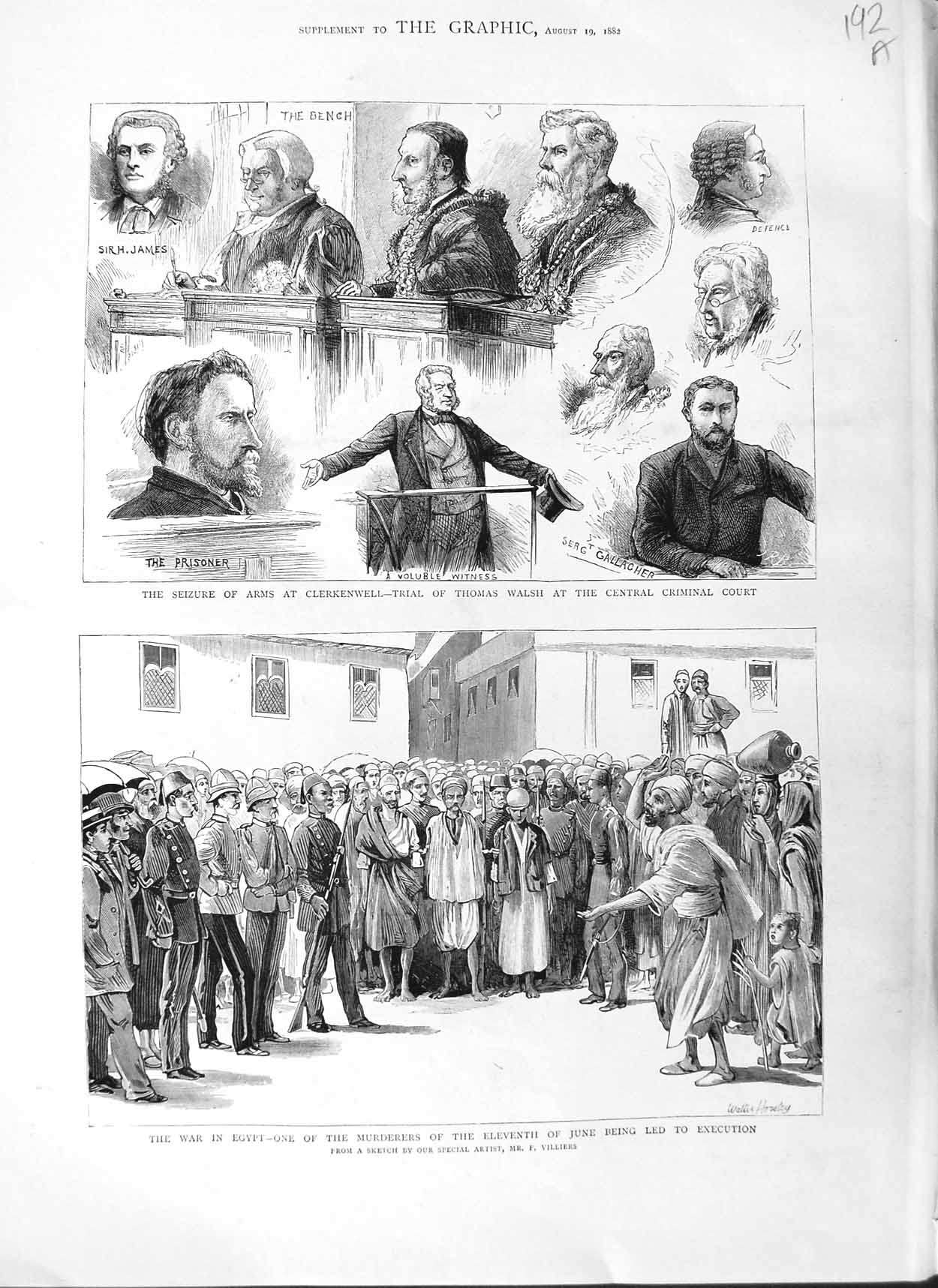 [Print 1882 War Egypt Execution Clerkenwell Thomas Walsh Court 192Am126 Old Original]