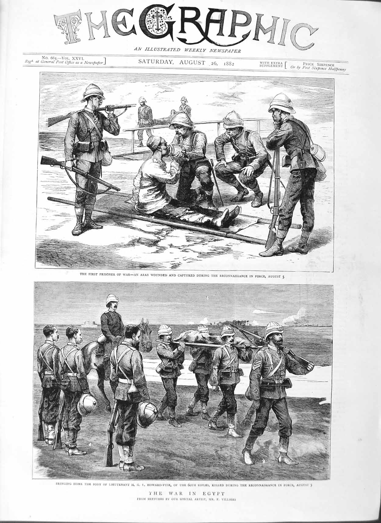 [Print 1882 War Egypt Arab Soldiers Howard-Vyse Reconnaissance 193M126 Old Original]