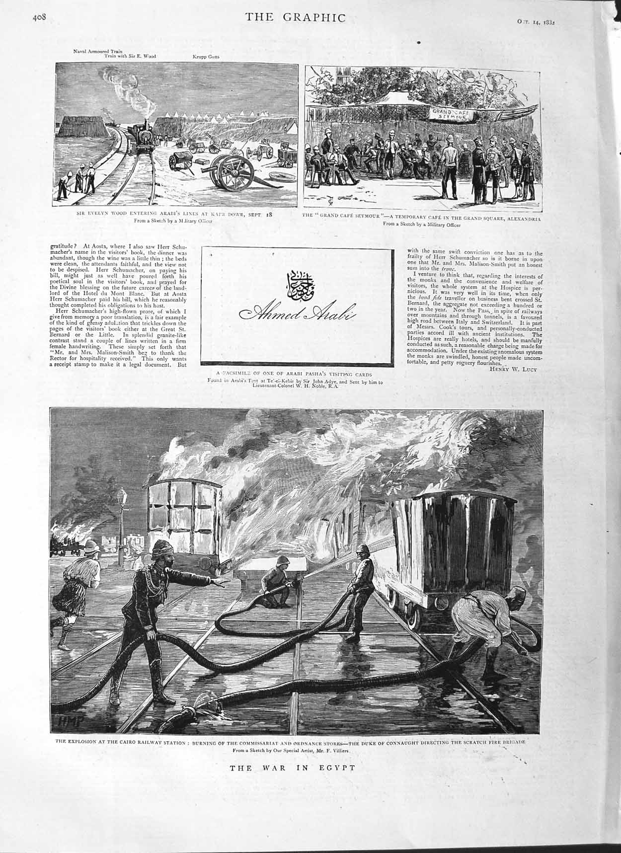 [Print 1882 War Egypt Cairo Railway Connaught Wood Seymour 408M126 Old Original]