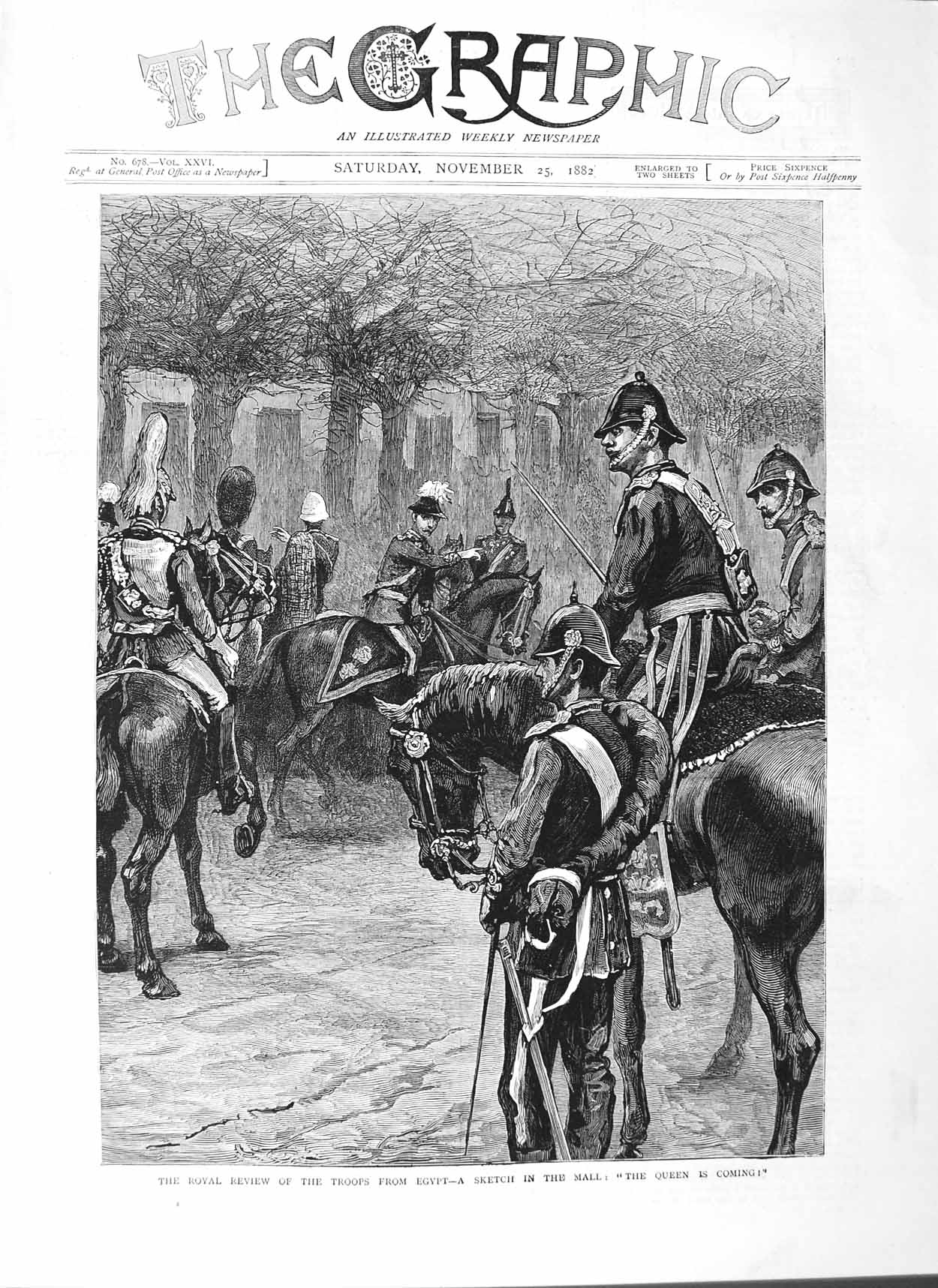 [Print 1882 Soldiers War Egypt Mall London Royal Review Queen 561M126 Old Original]
