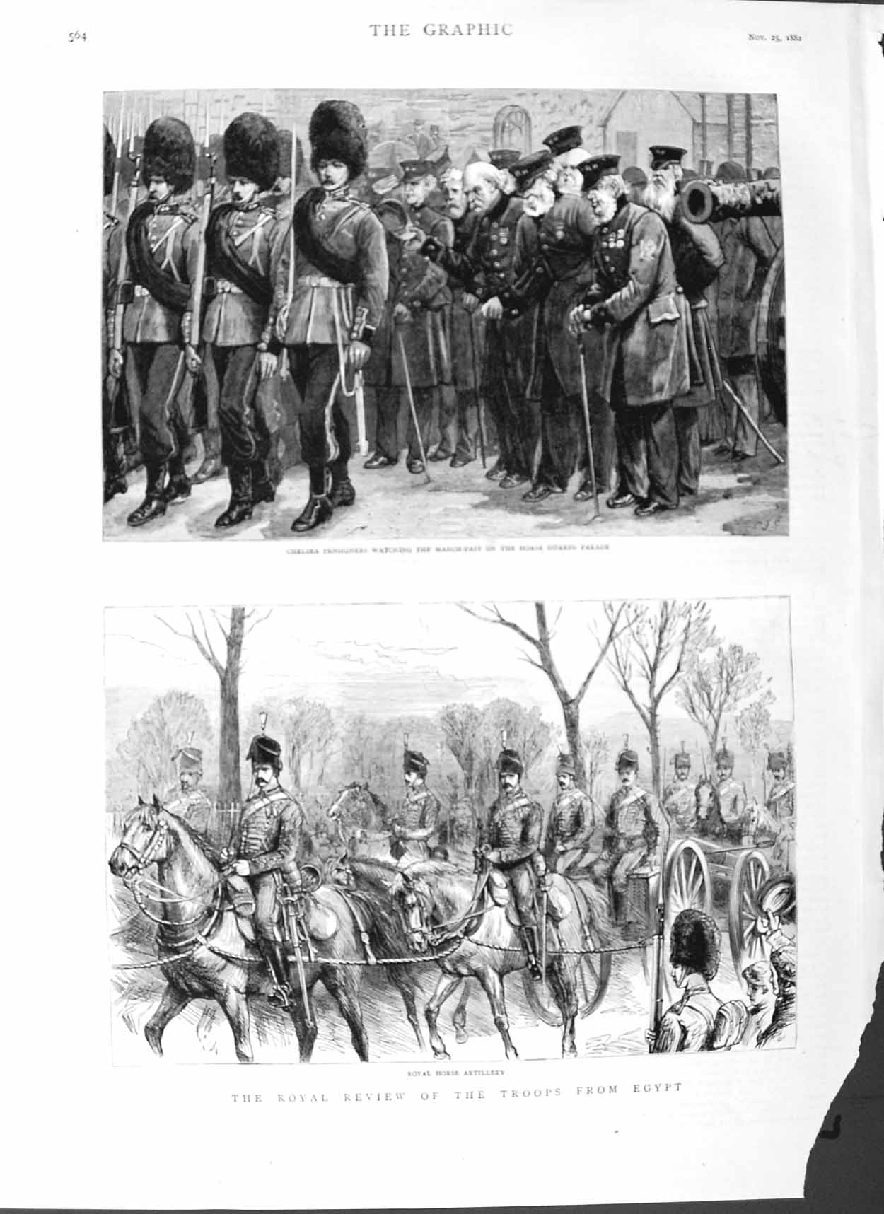 [Print 1882 Soldiers War Egypt Chelsea Pensioners Horse Guards 564M126 Old Original]