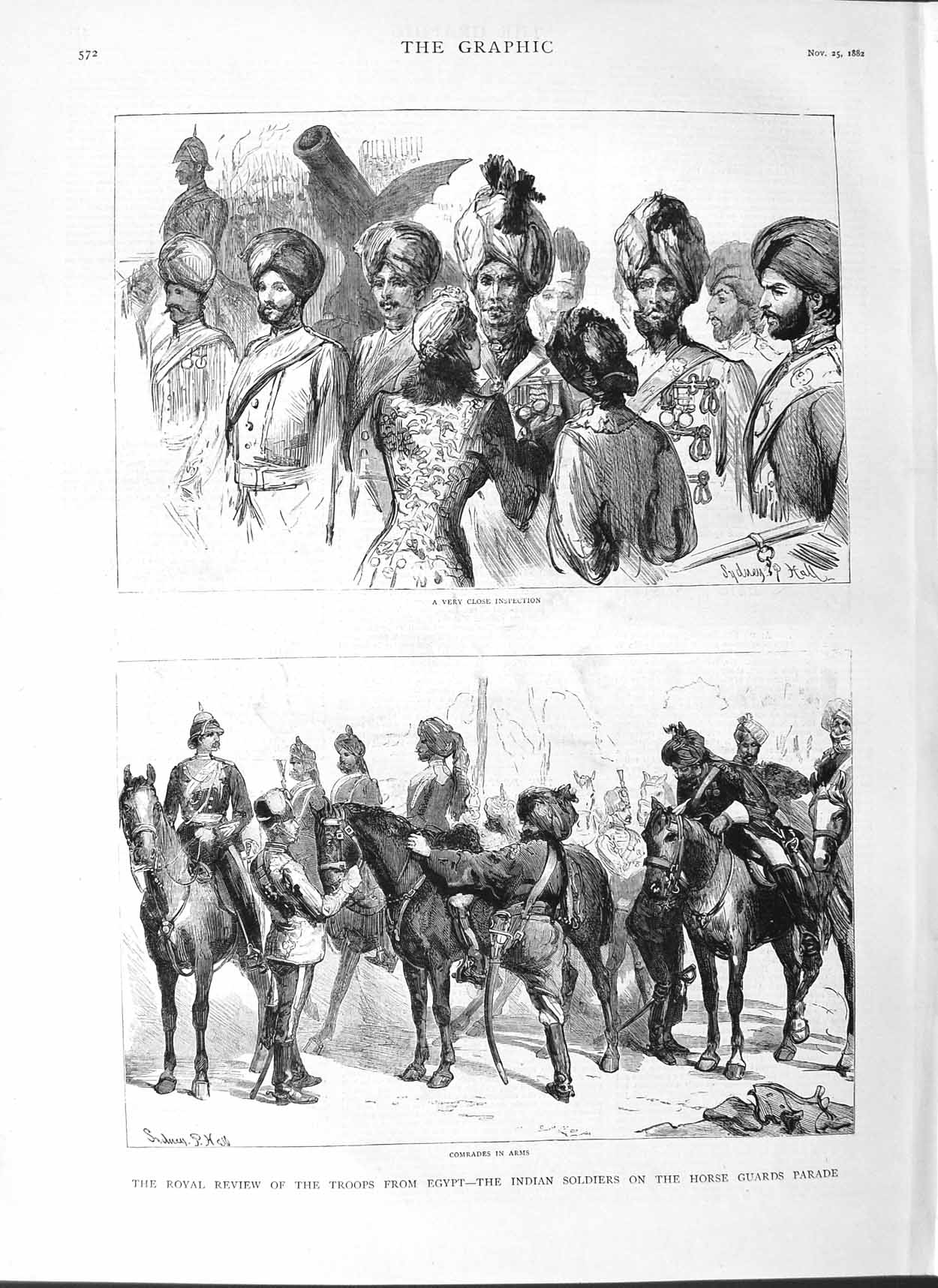 [Print 1882 Soldiers War Egypt Indian Horse Guards Parade 572M126 Old Original]