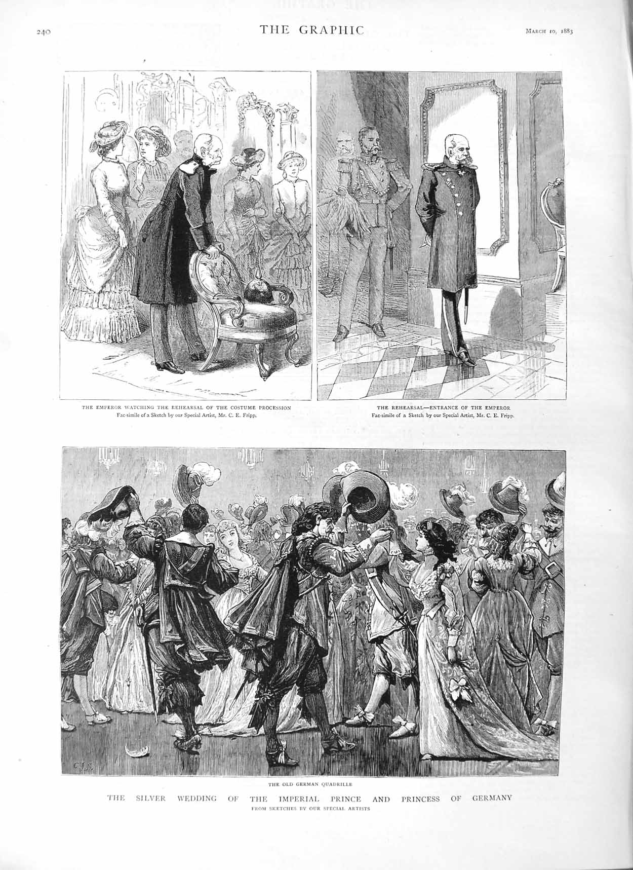 Print 1883 Silver Wedding Prince Germany Emperor Quadrille 240M127 Old Original
