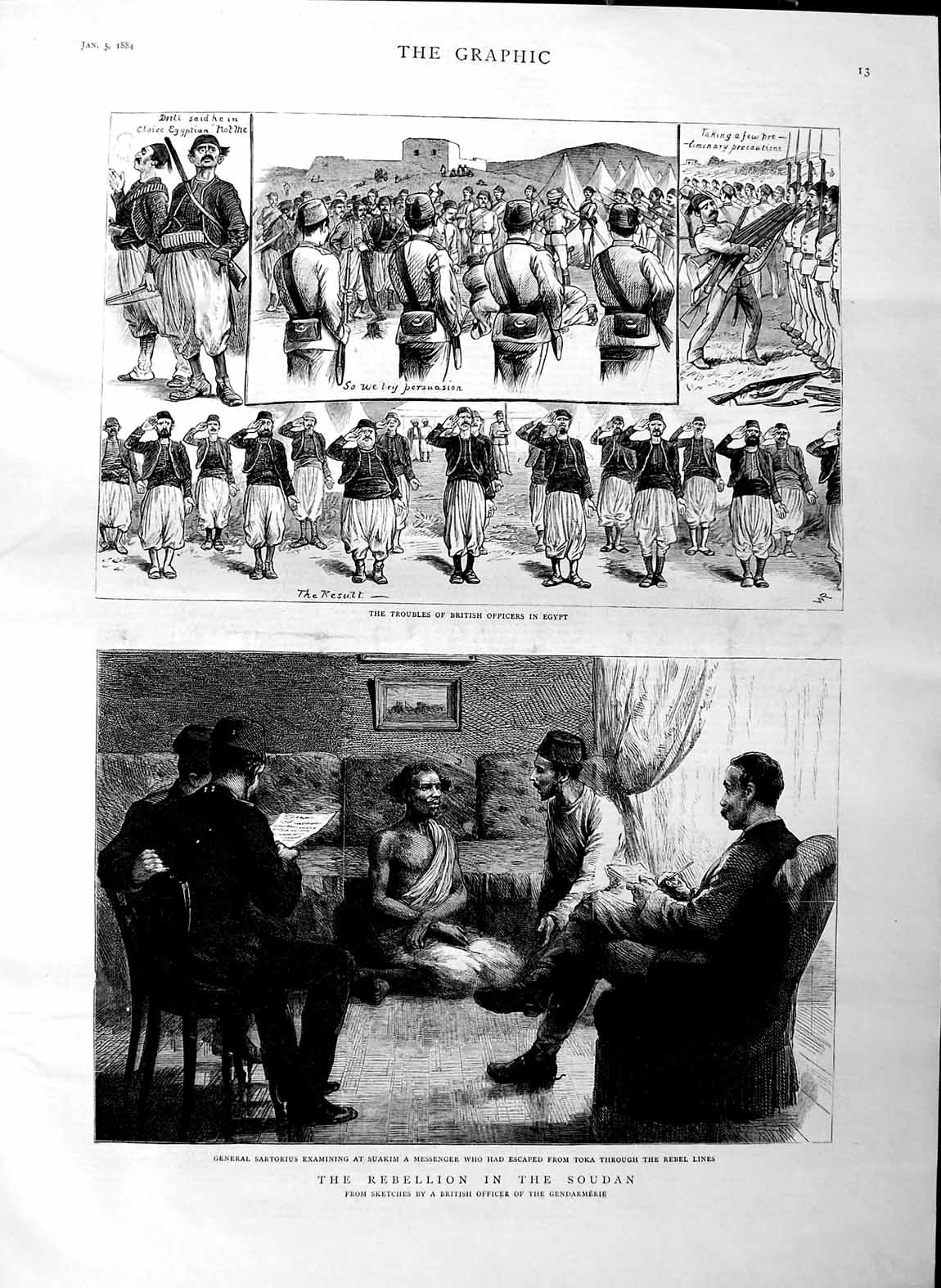 [Print 1884 Soudan War General Sartorius British Army Egypt 013M129 Old Original]