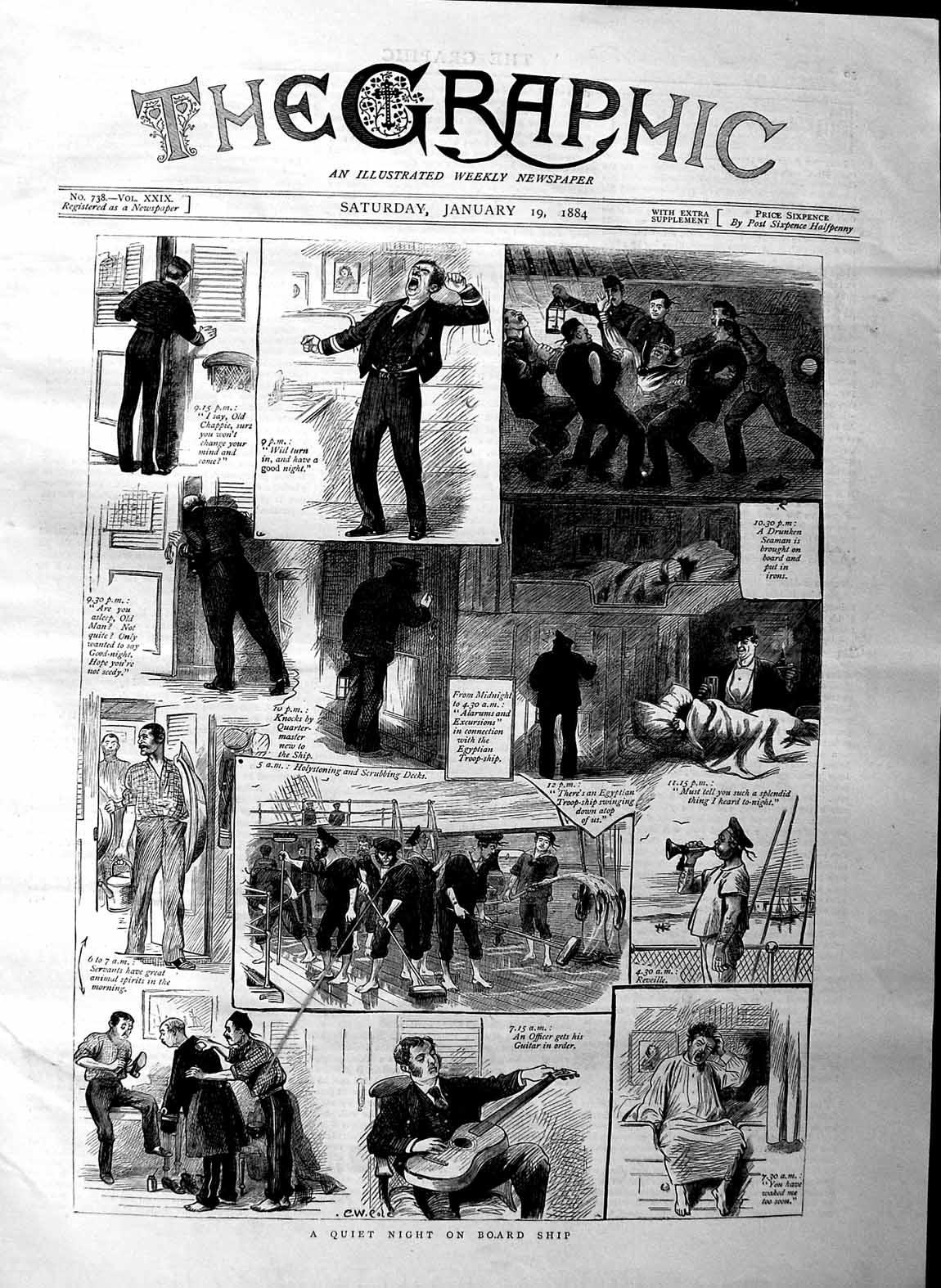 [Print 1884 Ship Sailors Scrubbing Decks Officer War 049M129 Old Original]