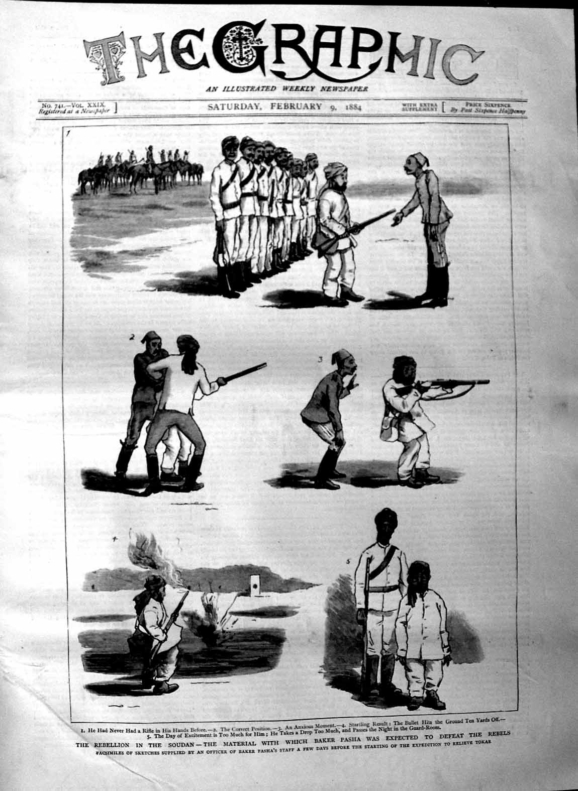 [Print 1884 Soudan War Baker Pasha Soldiers Tokar Sketches 121M129 Old Original]
