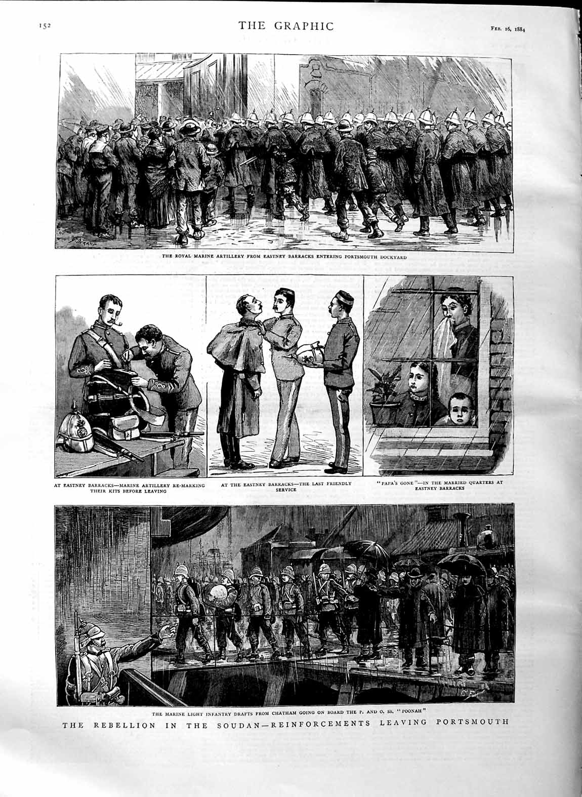 [Print 1884 War Soudan Marines Ship Poonah Eastney Barracks Old Original]