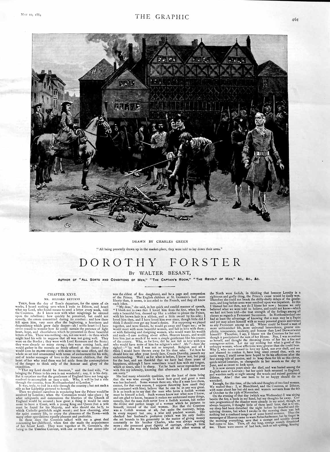 [Print 1884 Illustration Story Dorothy Forster Men Arms War 461M129 Old Original]