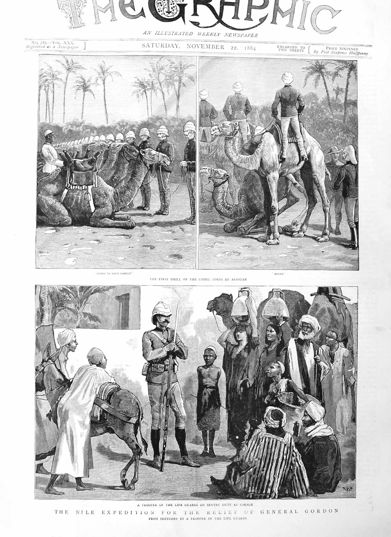 [Print 1884 General Gordon Nile Expedition Camels Assouan War 529M130 Old Original]