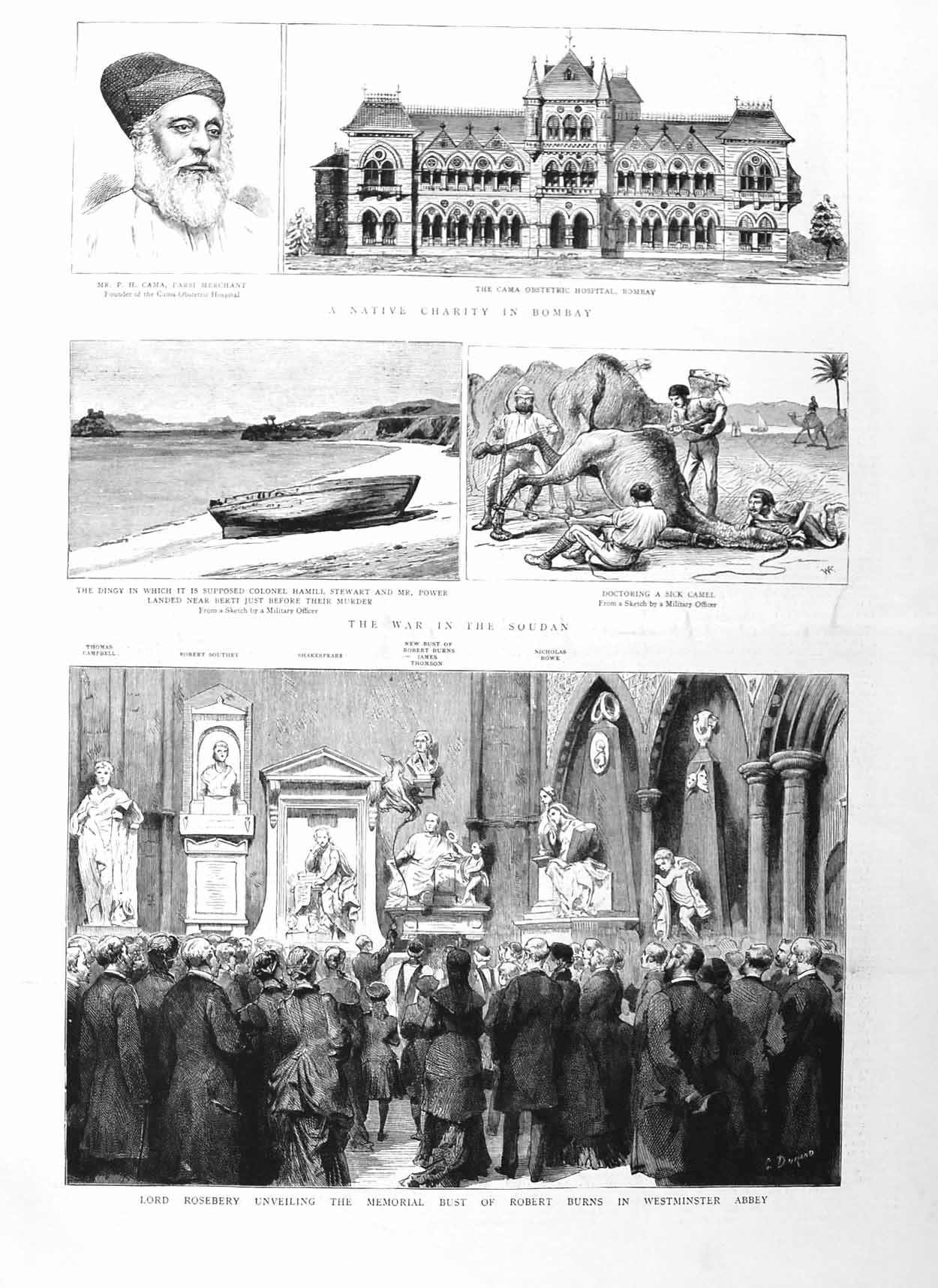 [Print 1885 Roseberry Robert Burns Westminster Parsi Bombay 261M131 Old Original]