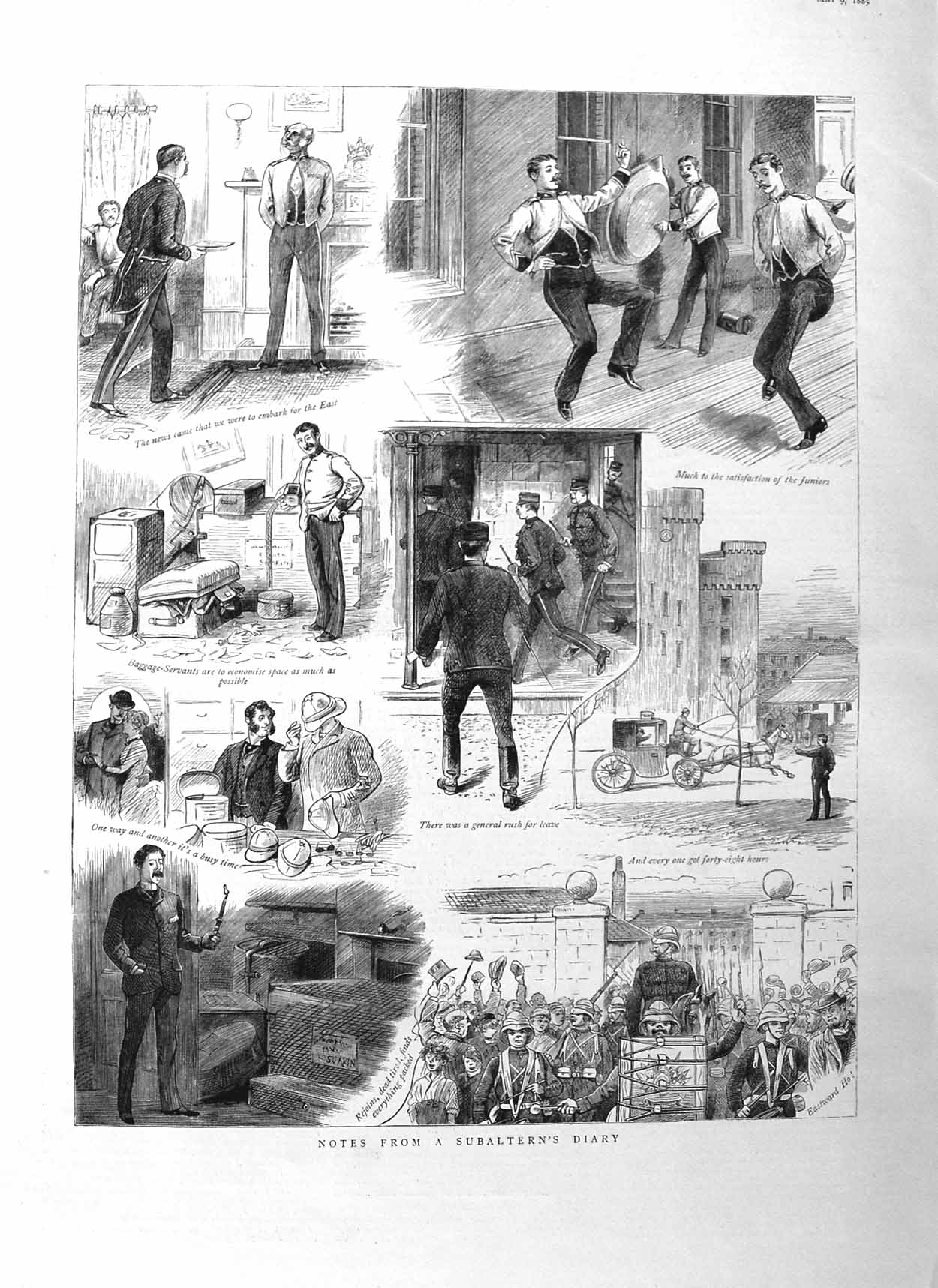 [Print 1885 Subaltern'S Diary Soldiers Music War  Old Original]