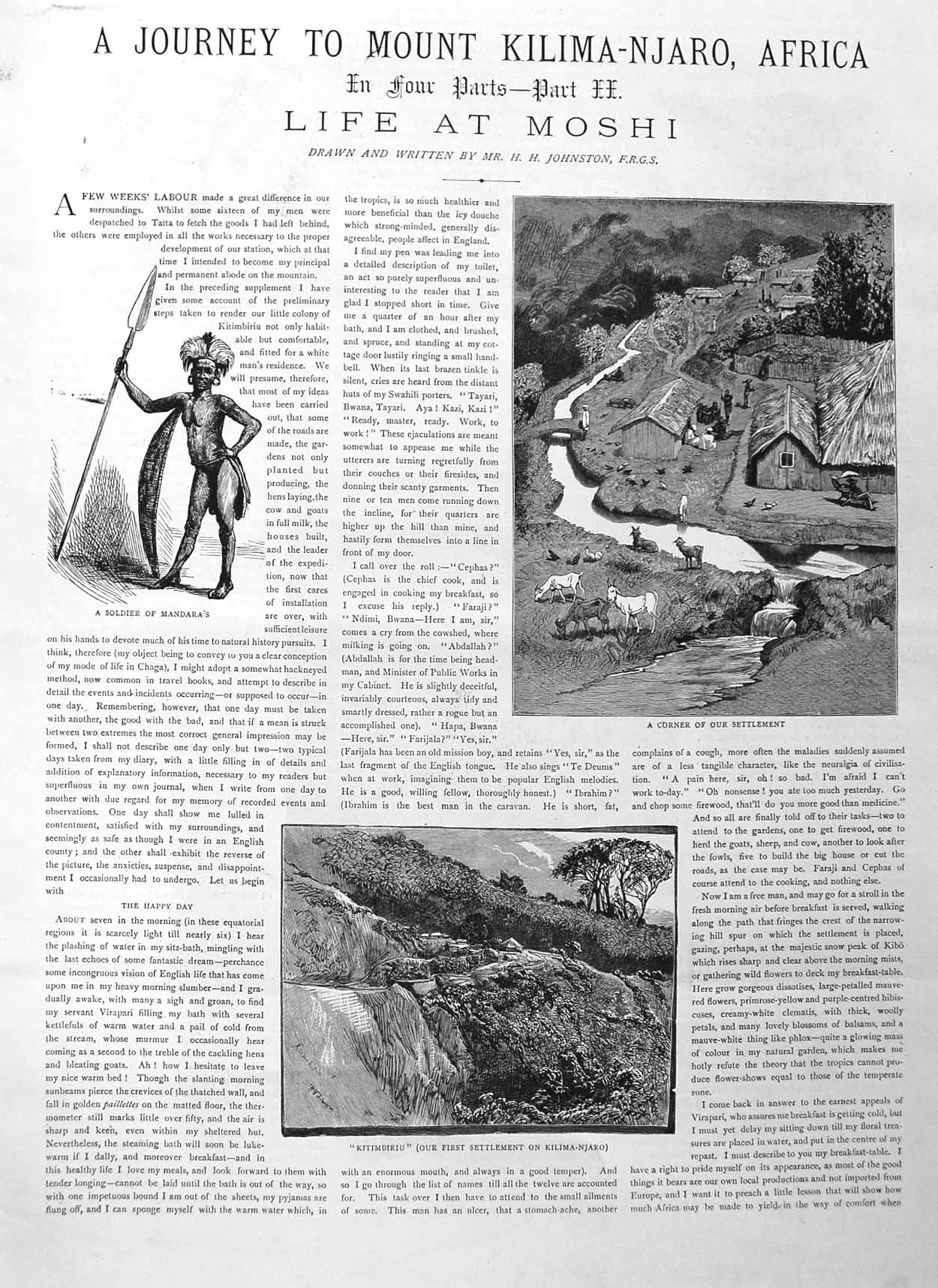 [Print 1885 Part Two Journey Mount Kilimanjaro Africa Mandara 633M131 Old Original]