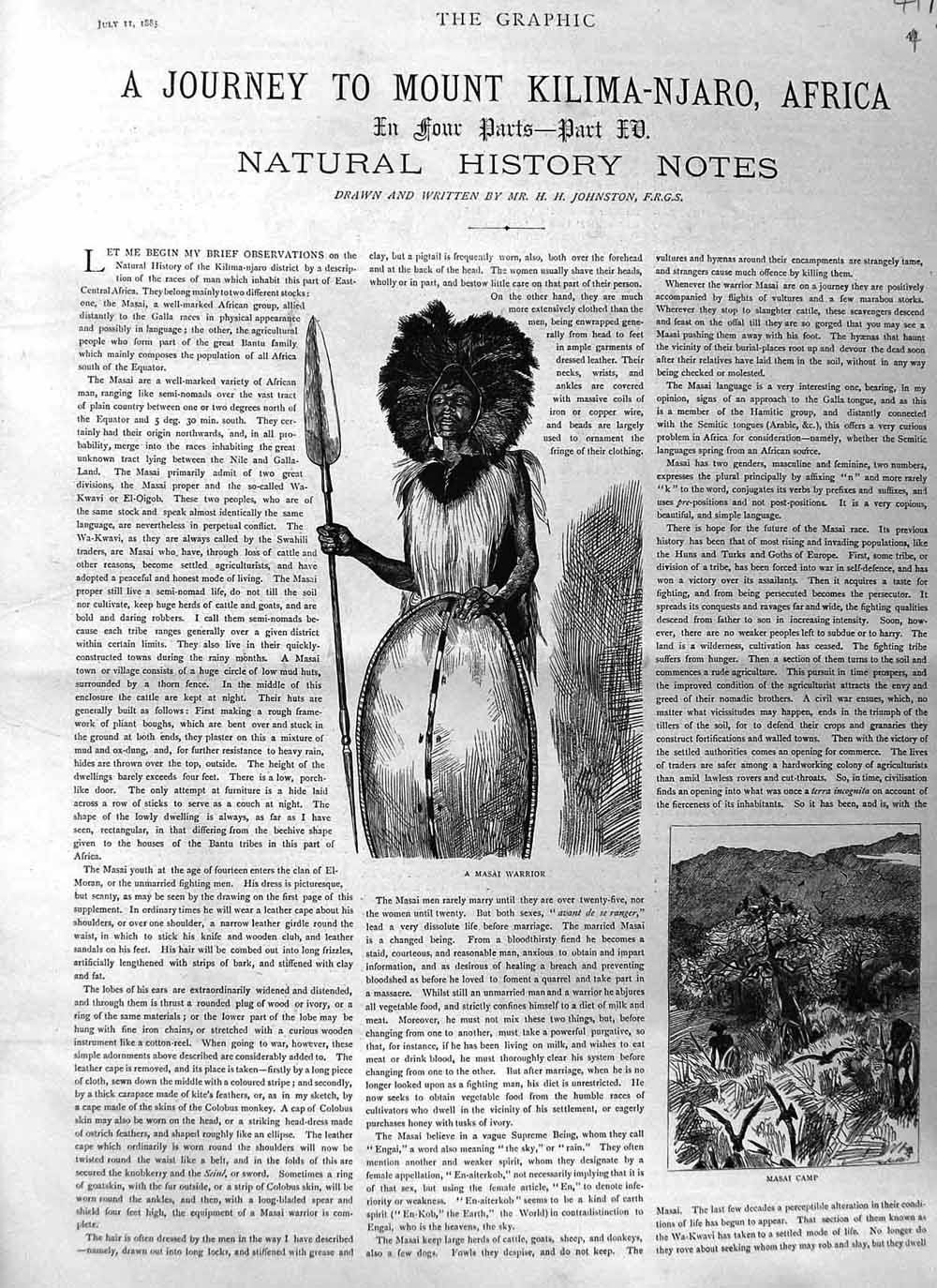 [Print 1885 Mount Kilimanjaro Africa Masia Warrior Part Four 041Am132 Old Original]