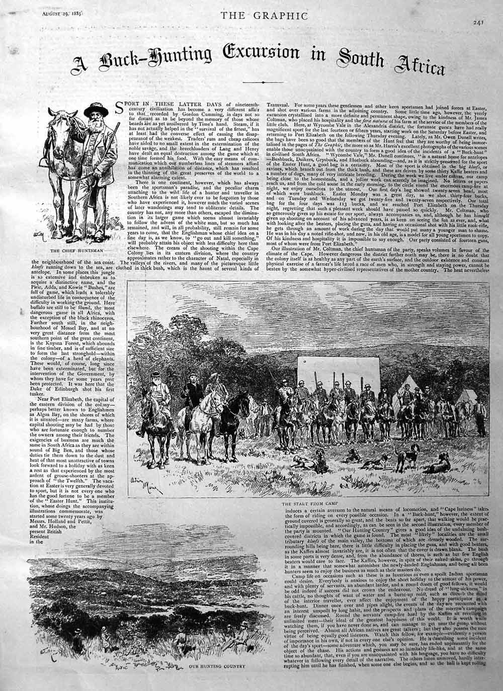 [Print 1885 Buck Hunting South Africa Tiffin Bush Huntsman 241M132 Old Original]