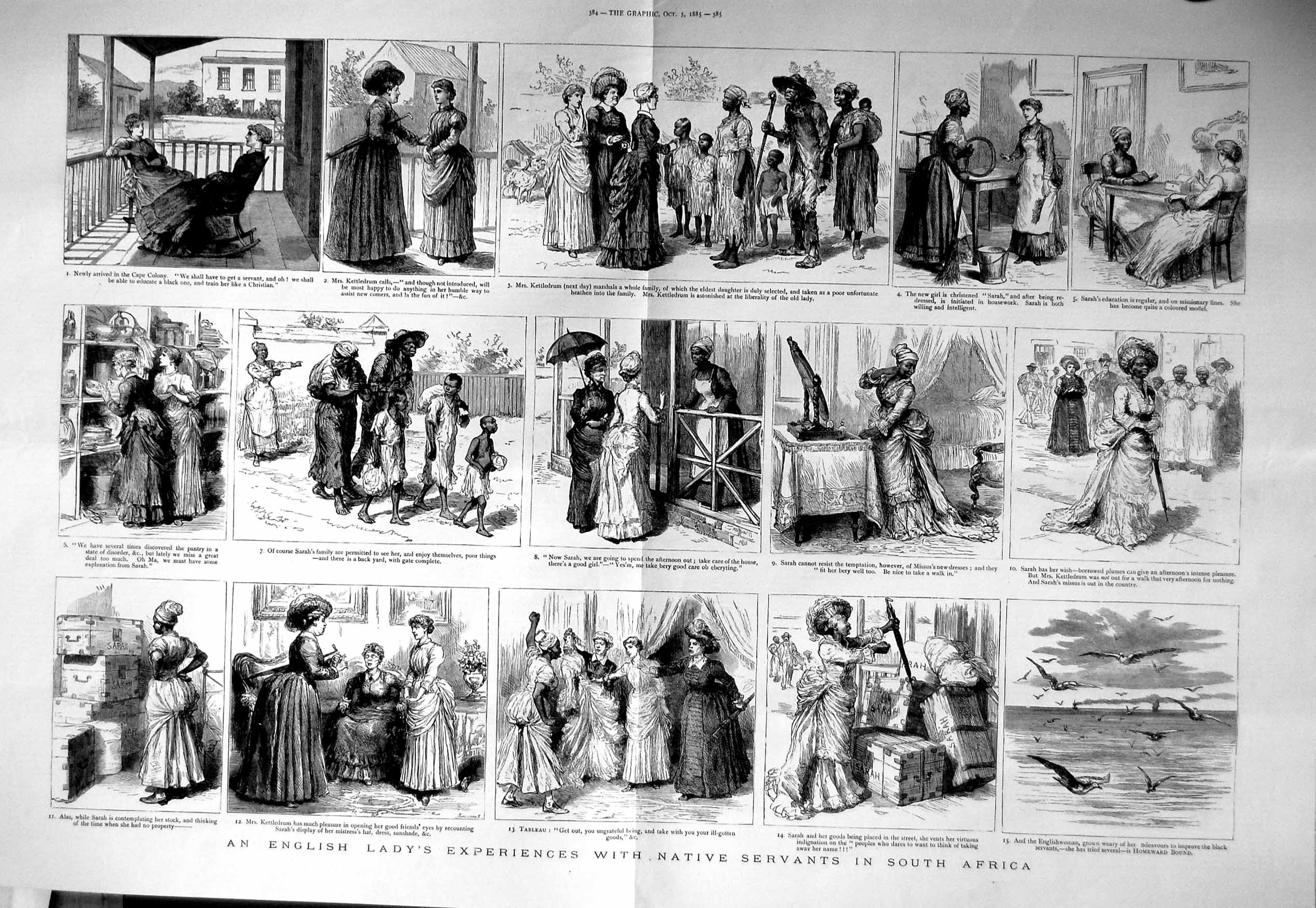 [Print 1885 English Lady Native Servants South Africa 383Tm132 Old Original]