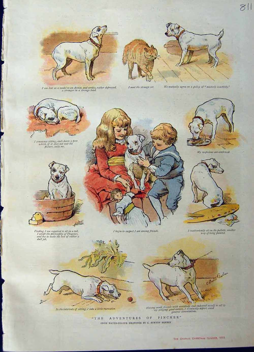 [Print 1885 Colour Children Dog Pincher Cat Playing 811M132 Old Original]