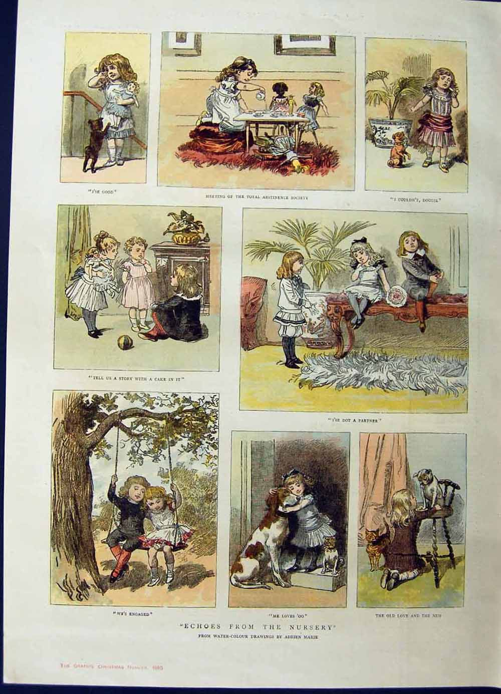 [Print 1885 Colour Story Children Playing Swing Dogs 816M132 Old Original]