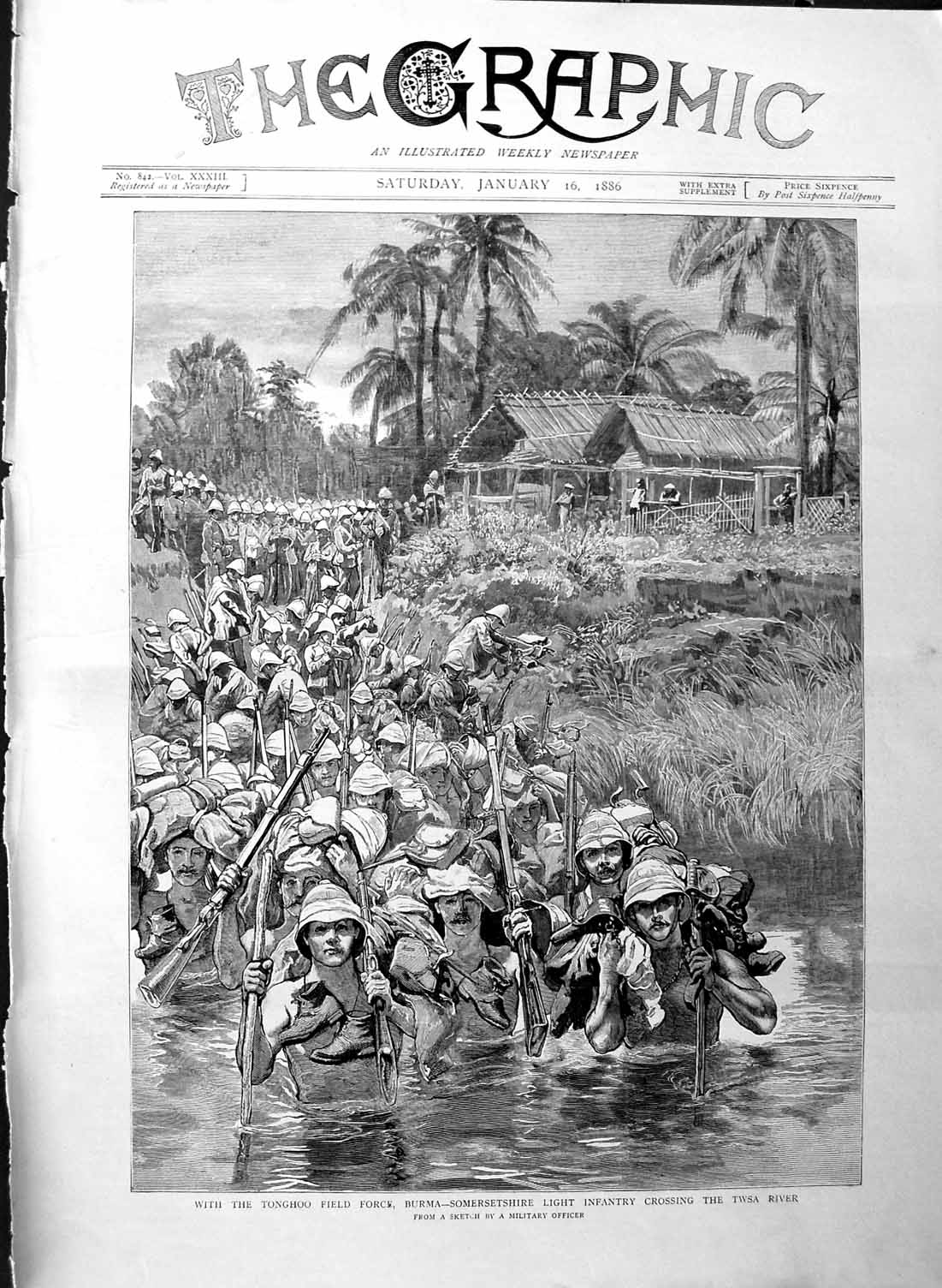 [Print 1886 Tonghoo Field Force Burma Twsa River Soldiers War 053M133 Old Original]