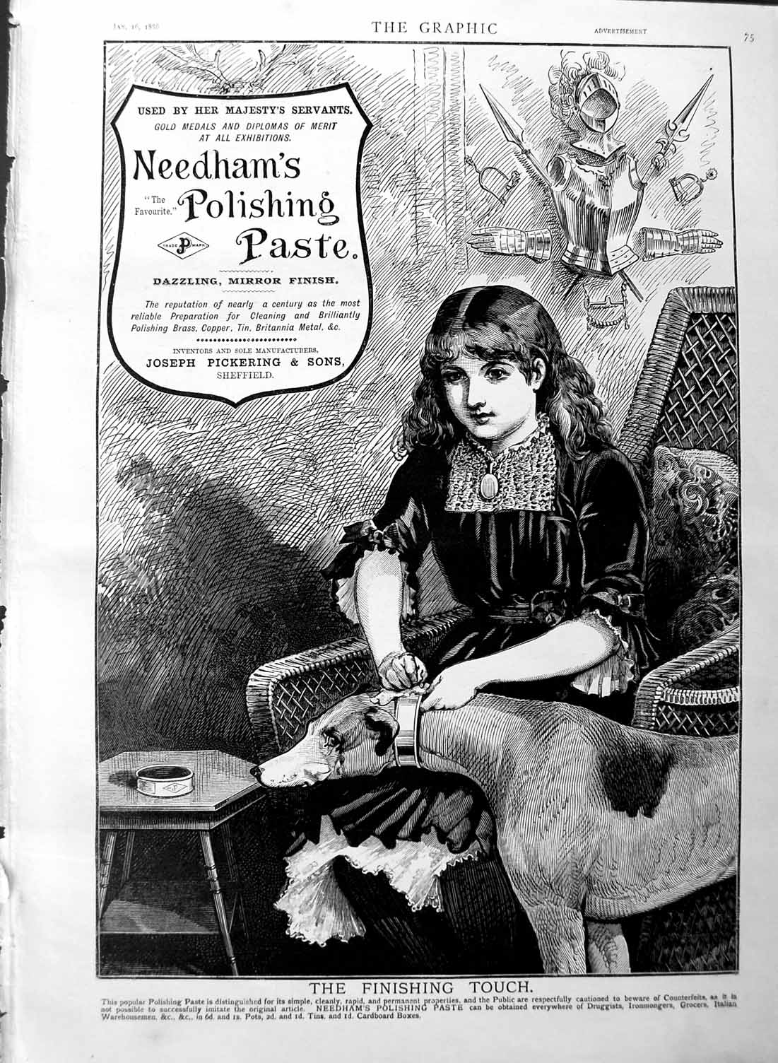 [Print 1886 Advertisement Needham'S Polishing Paste Girl Dog 075M133 Old Original]