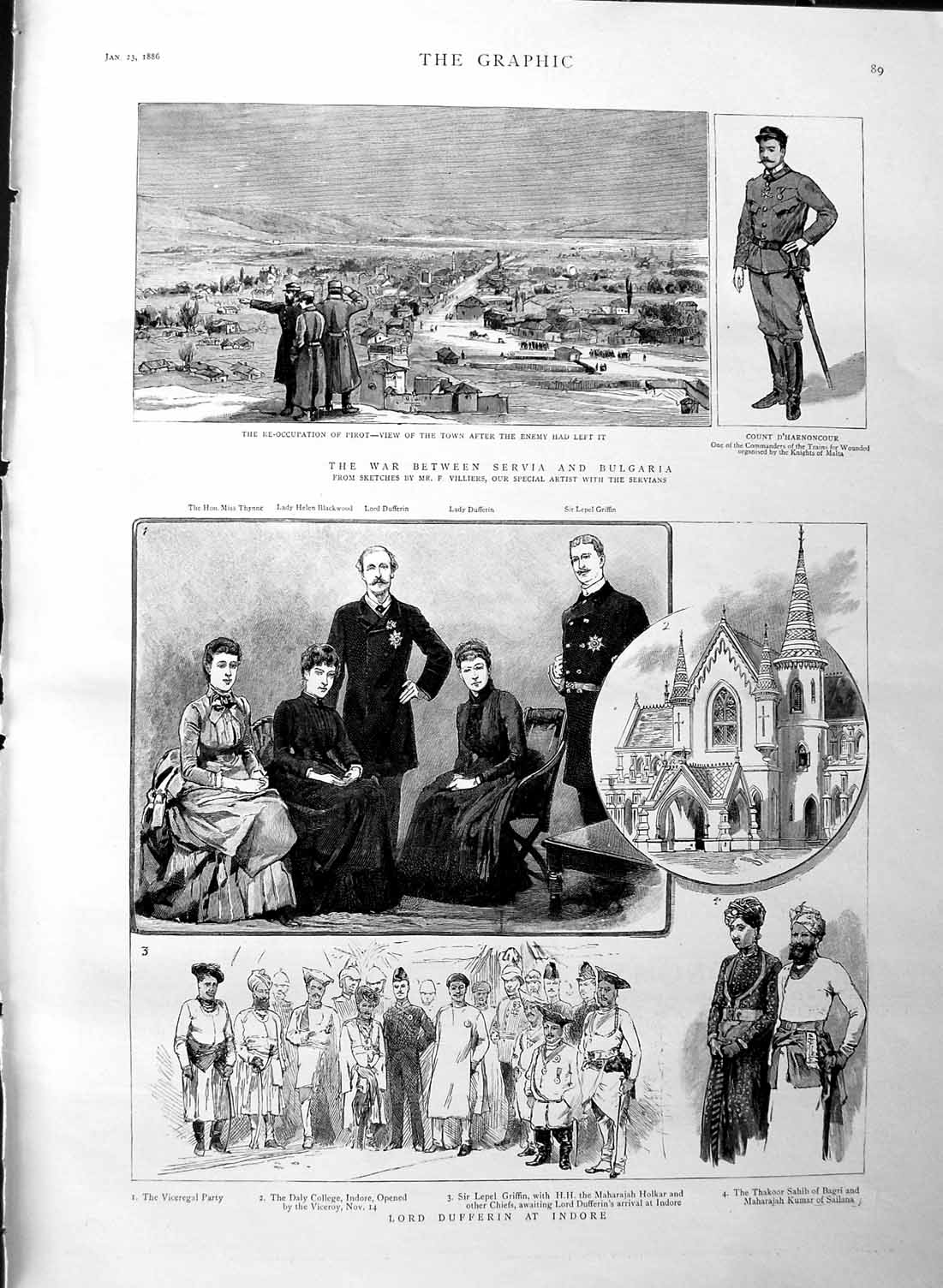 [Print 1886 Lord Dufferin Indore War Servia Bulgaria Pirot 089M133 Old Original]