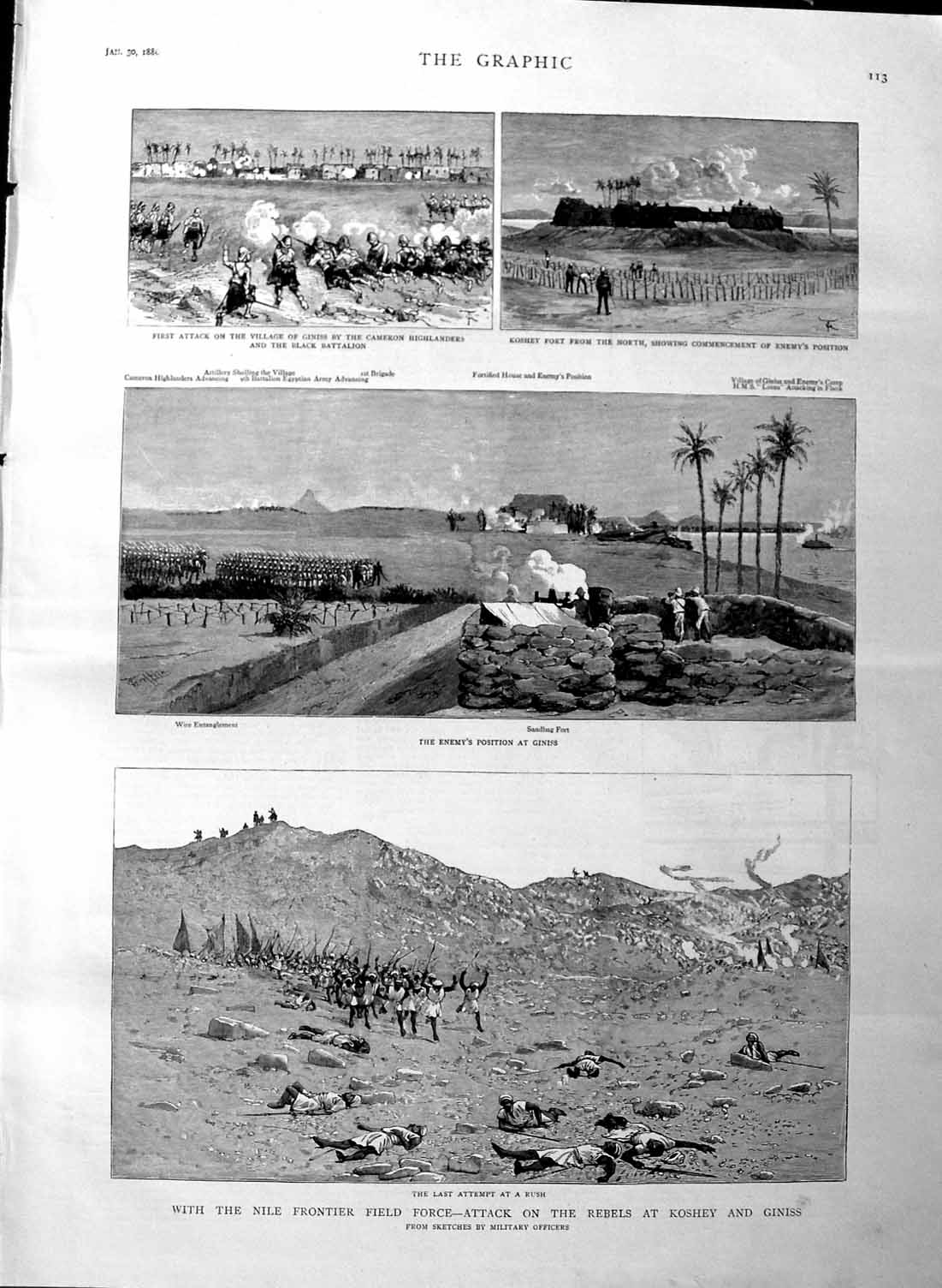 [Print 1886 Nile Rebels Koshey Giniss Koshey Soldiers War 113M133 Old Original]
