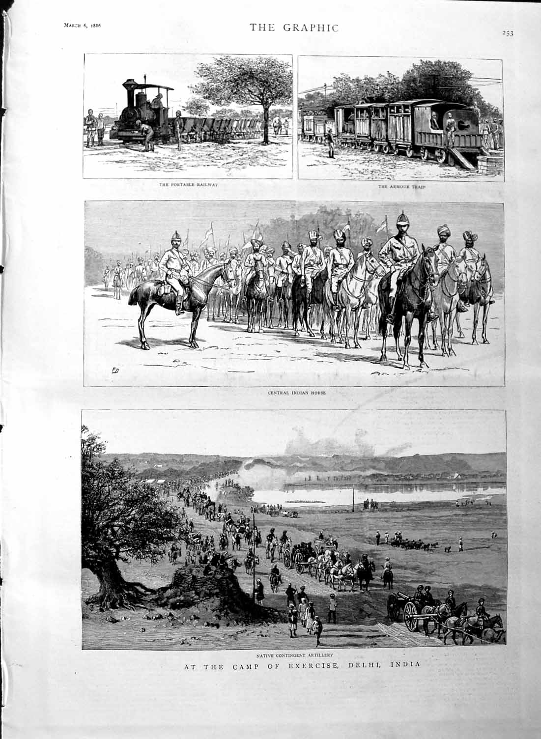 [Print 1886 Camp Exercise Delhi India Railway Armour Train War 253M133 Old Original]