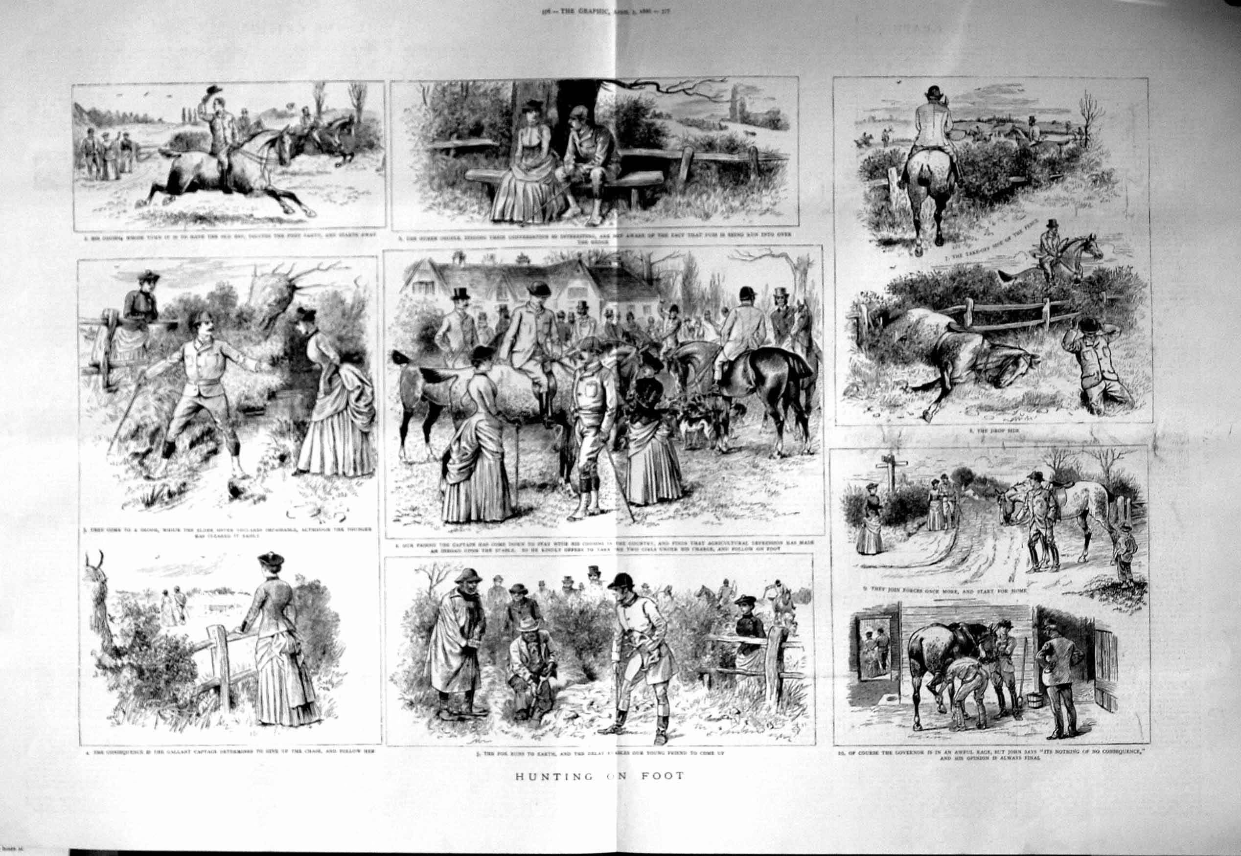 [Print 1886 Fox Hunting Sport Horses Hounds Dogs Countryside 375Tm133 Old Original]