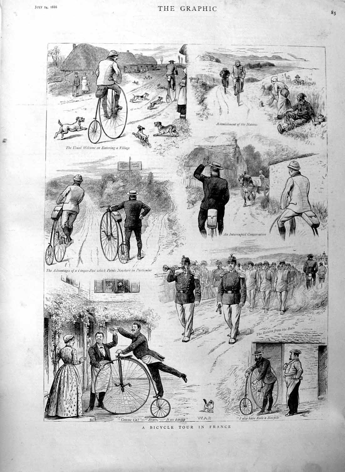 [Print 1886 Bicycle Tour France Dogs Soldiers  Old Original]