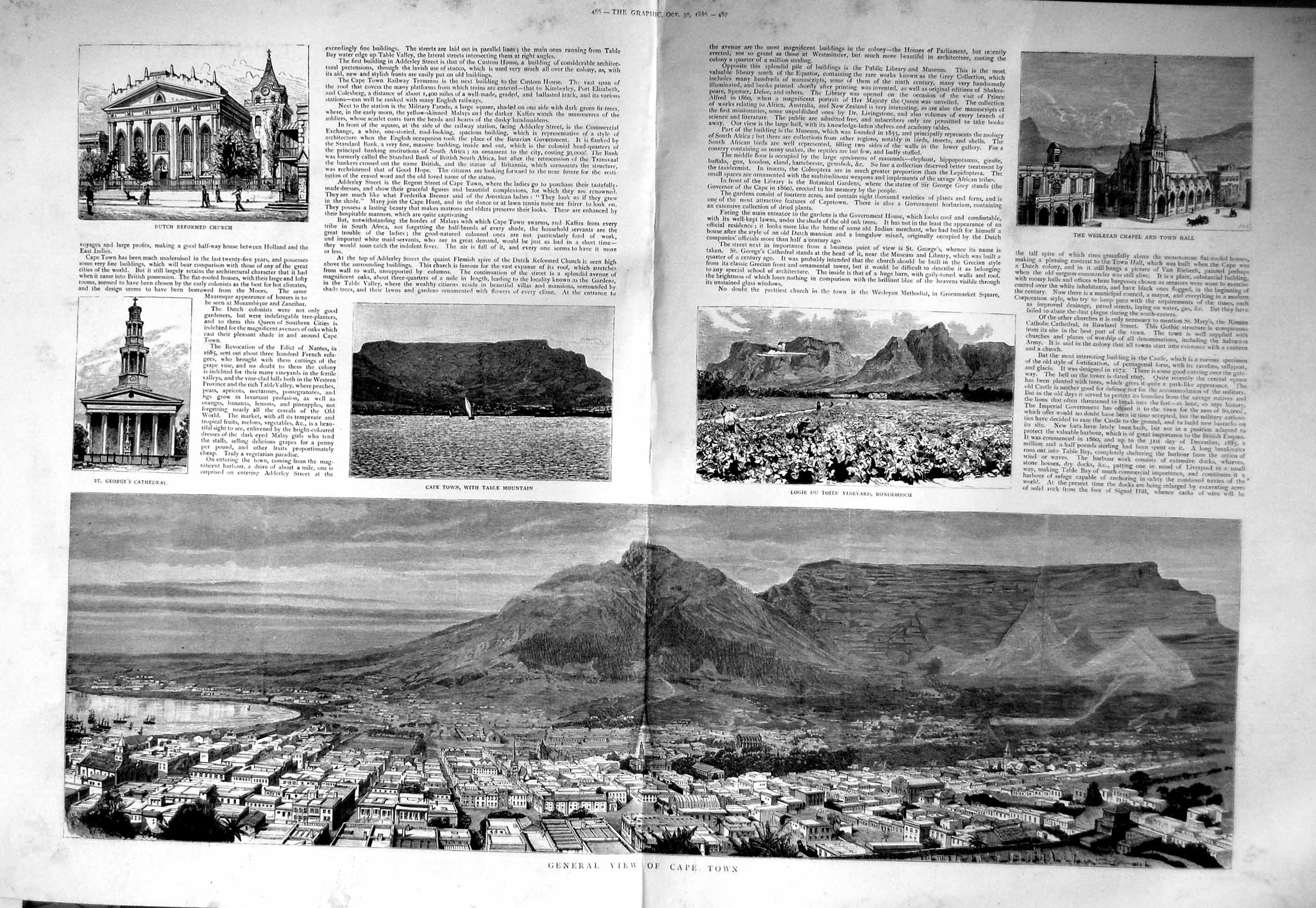 [Print 1886 Cape Town Africa Bank Table Mountain Wesleyan 465Tm134 Old Original]
