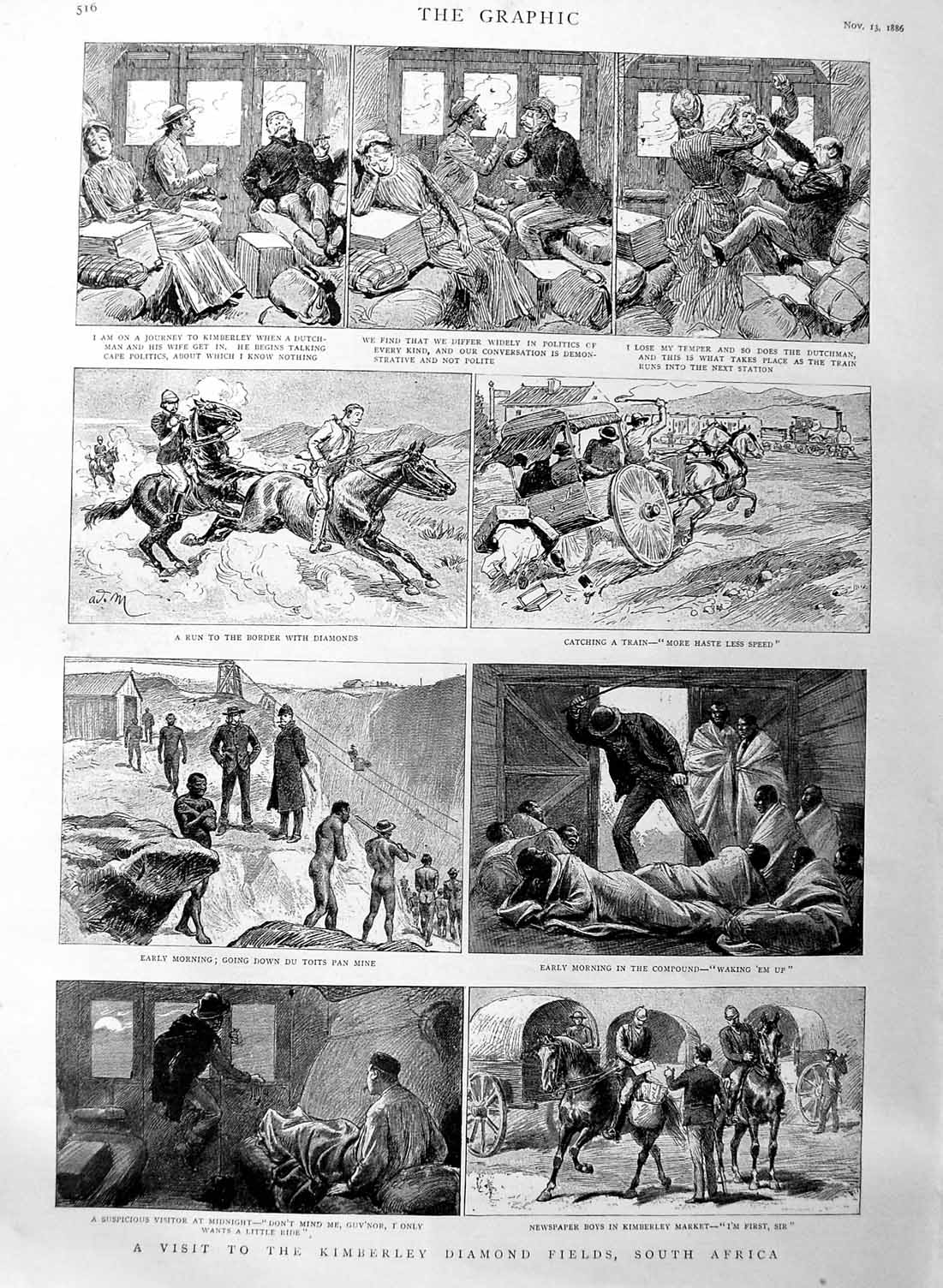 [Print 1886 Kimberley Diamond Fields South Africa Mining Train 516M134 Old Original]