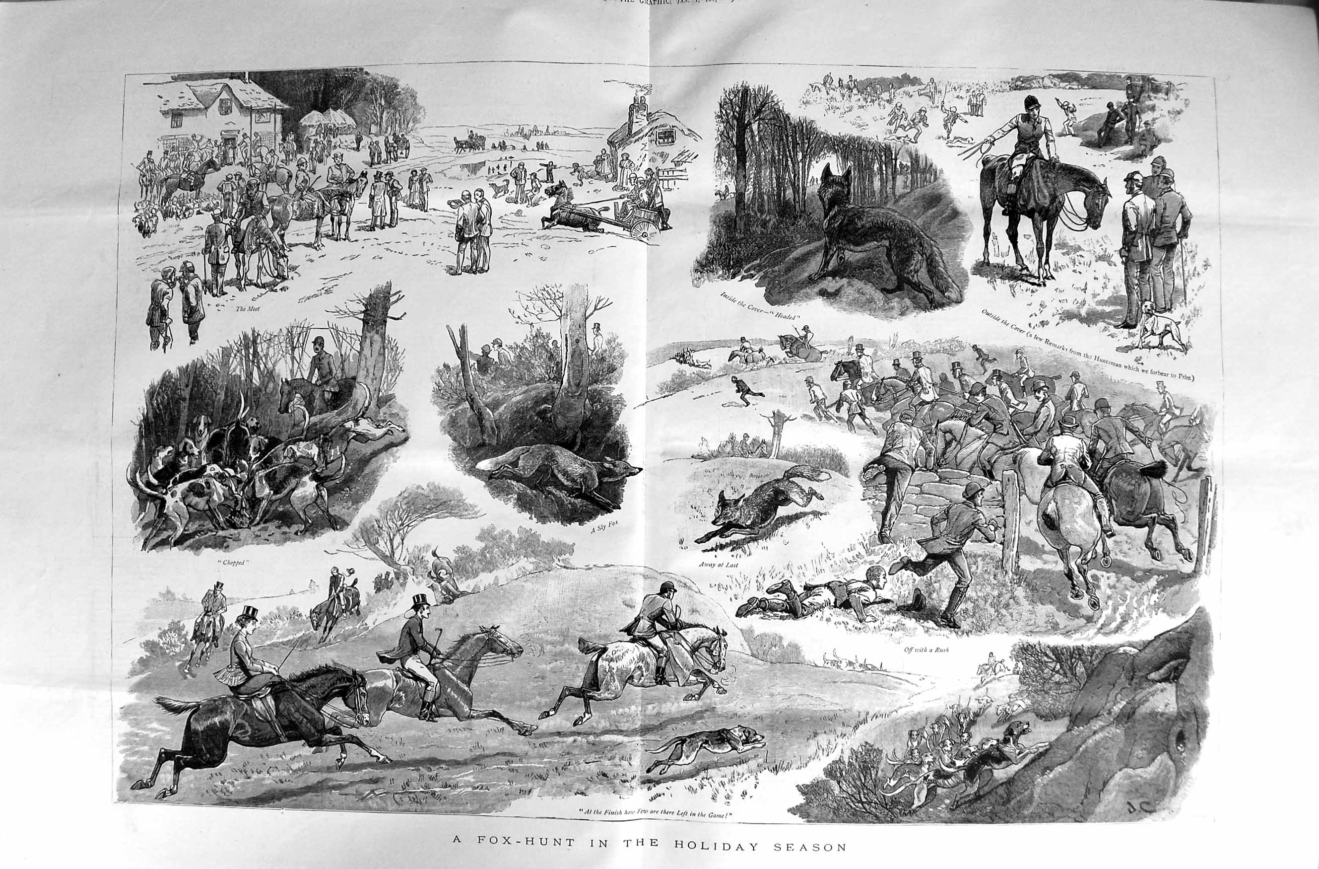 [Print 1887 Fox Hunting Sport Men Horses Hounds Dogs Country 007Tm135 Old Original]