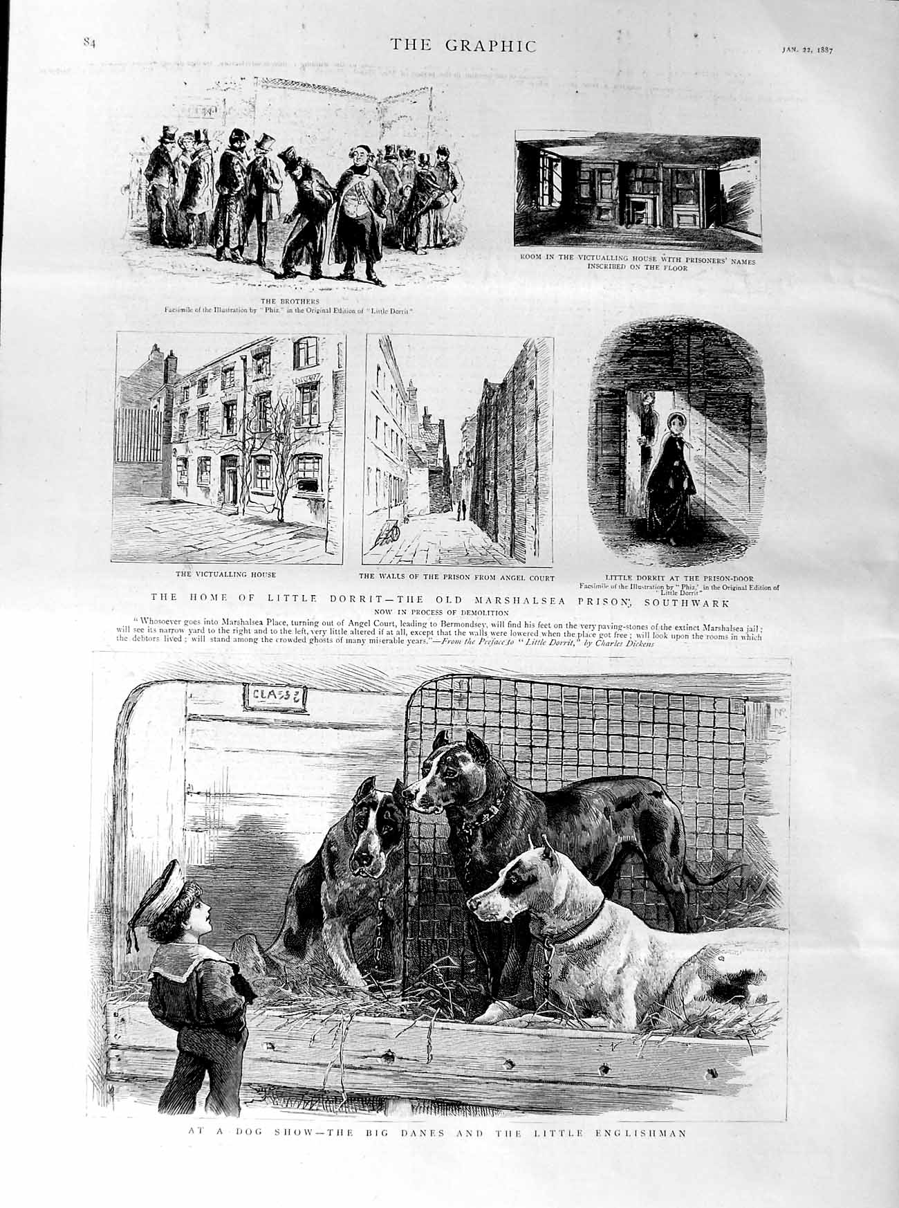 [Print 1887 Dog Show Big Danes Home Dorrit Marshalsea Prison 084M135 Old Original]