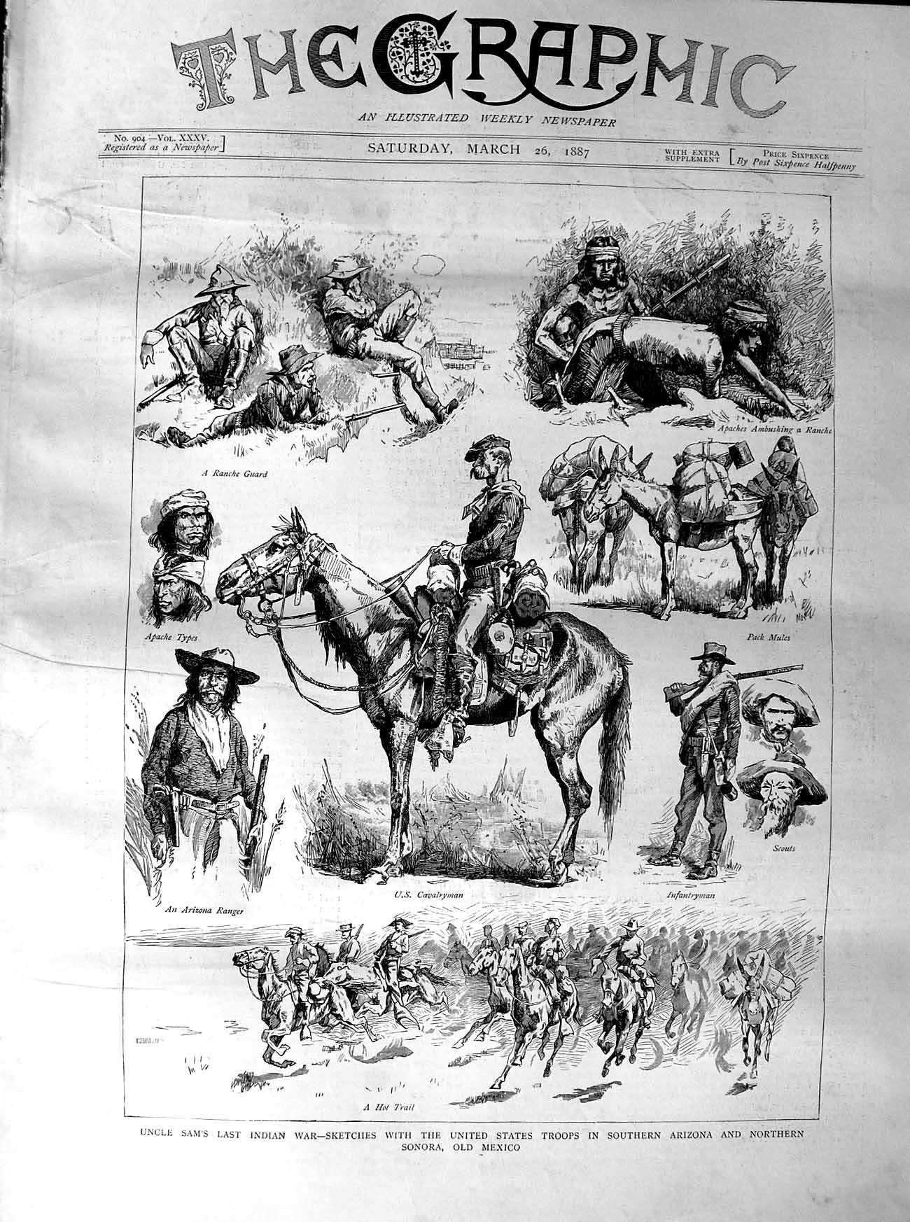 [Print 1887 Uncle Sam Indians War America Troops Mexico 313M135 Old Original]