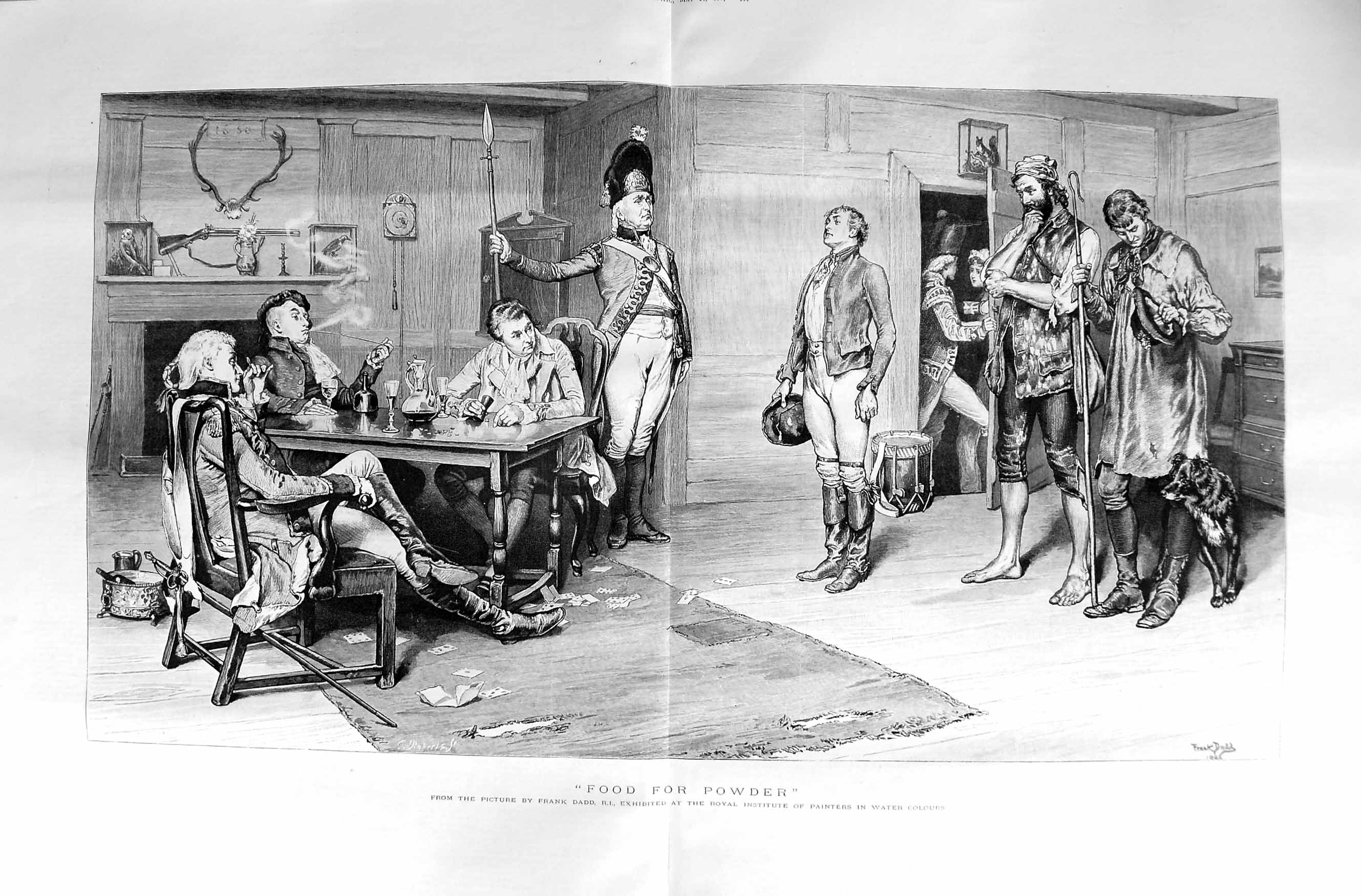 [Print 1887 Frank Dadd Men Food Table Shepherd Man Dog Drum 551Tm135 Old Original]