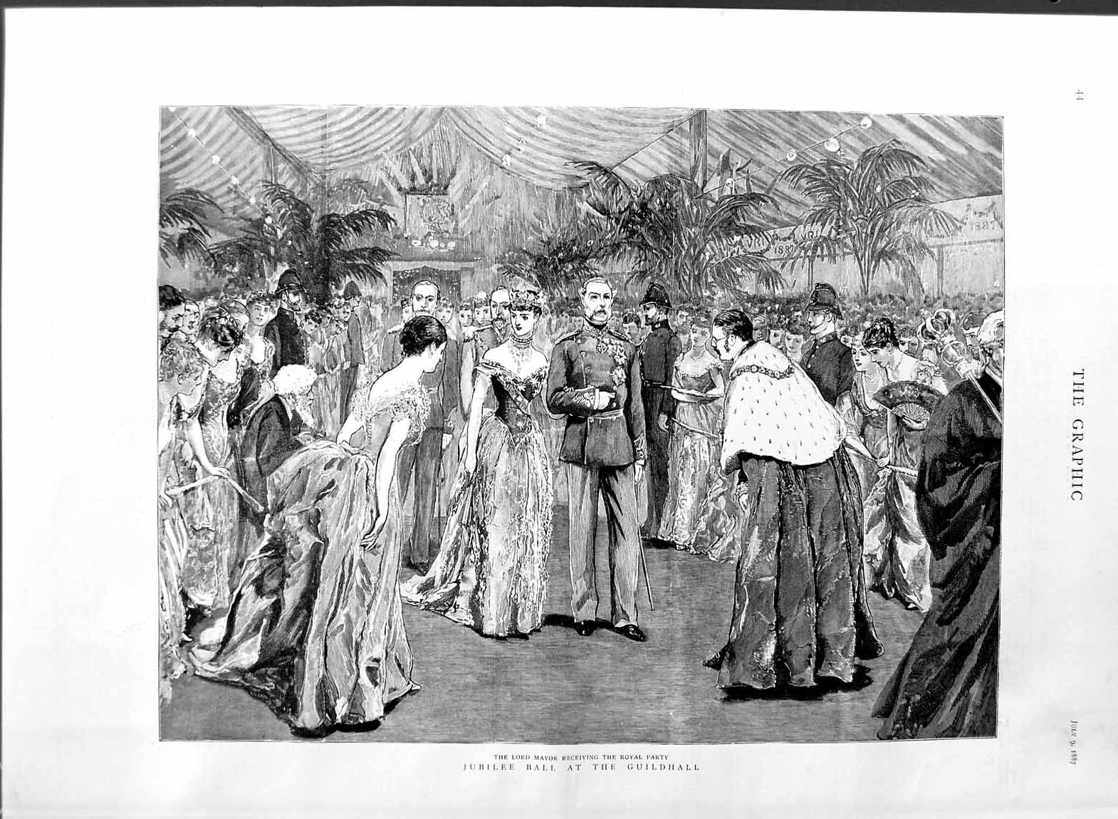 [Print *3102 1887 Jubilee Ball Guildhall Lord Mayor Royal Party 044M136 Old Original]