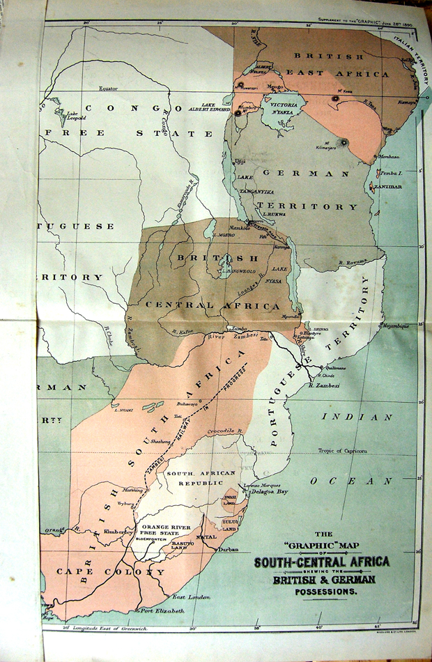 [Print 1890 Colour Graphic Map South-Central Africa Zanzibar  Old Original]